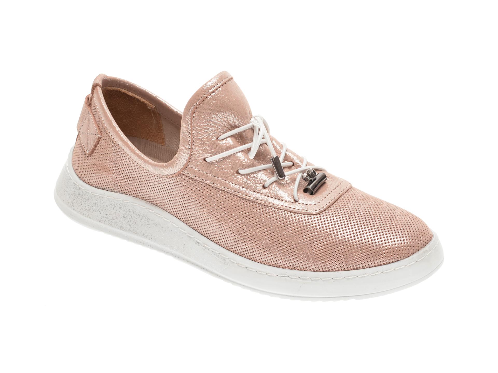 Pantofi BABOOS aurii, 0908, din piele naturala