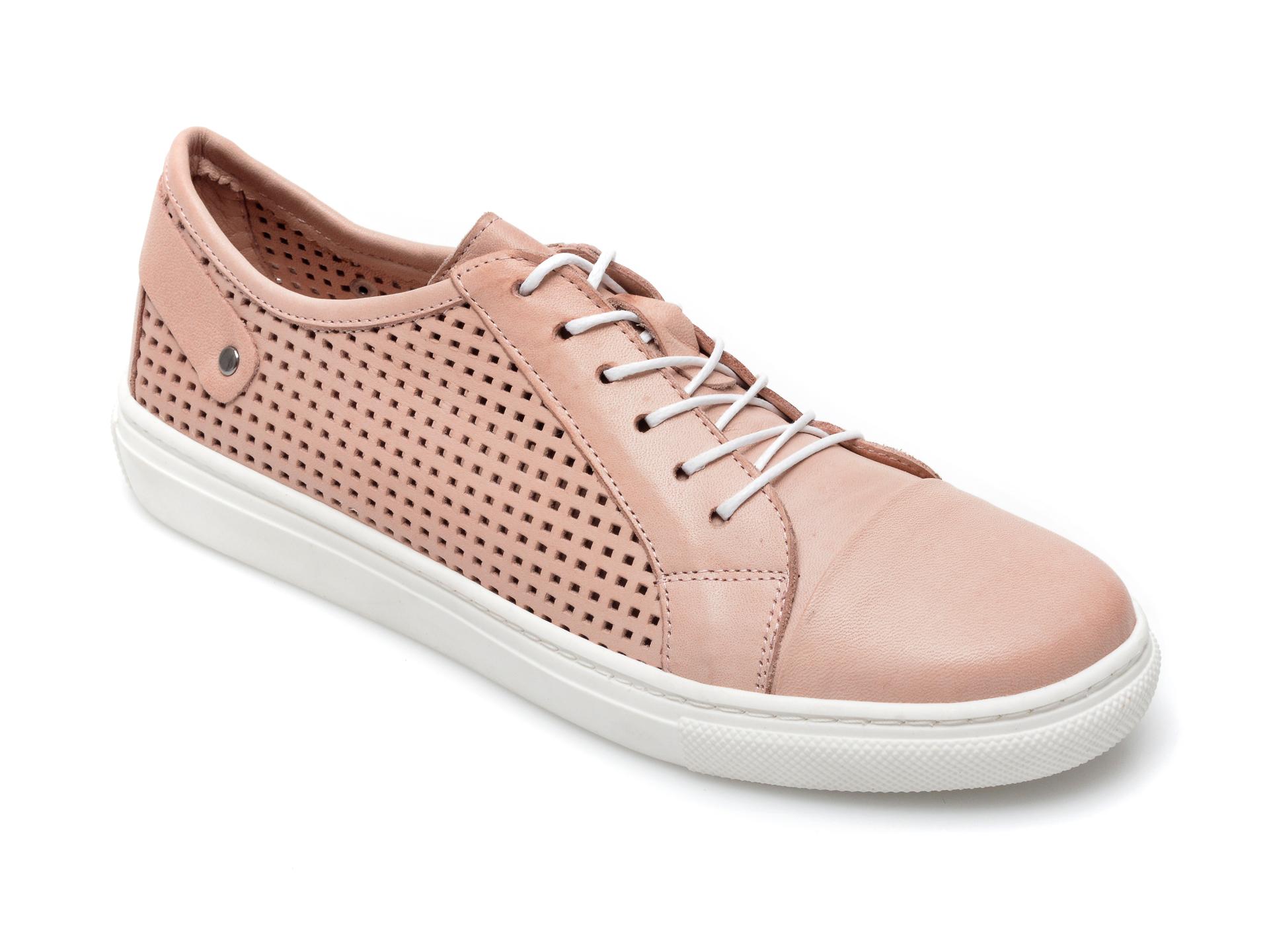 Pantofi Baboos Roz, R12, Din Piele Naturala