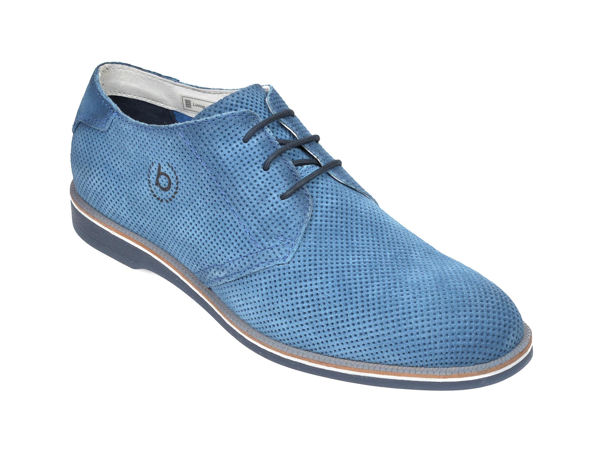 Pantofi BUGATTI albastri, 64706, din piele intoarsa