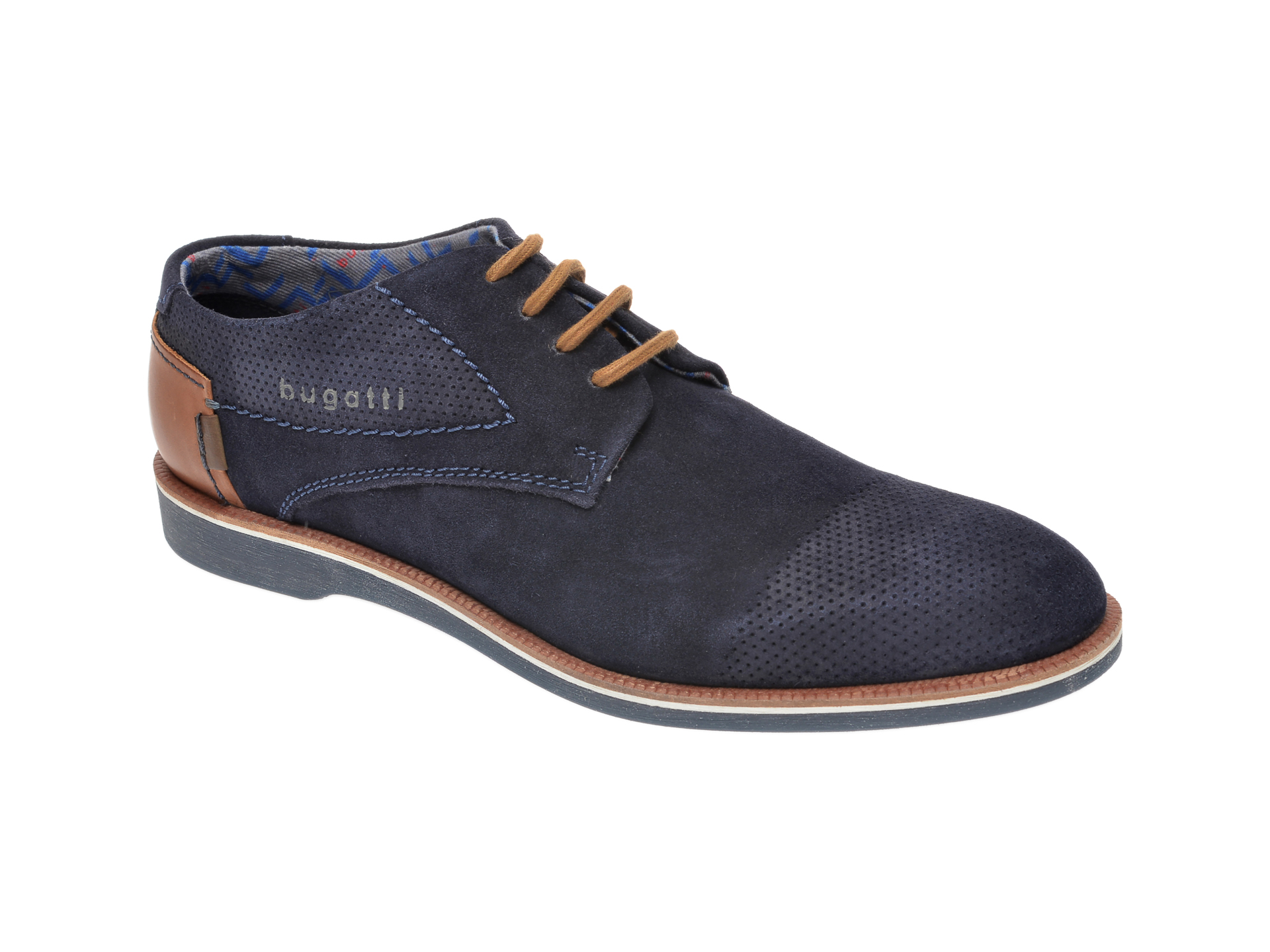 Pantofi BUGATTI bleumarin, 64702, din piele intoarsa New
