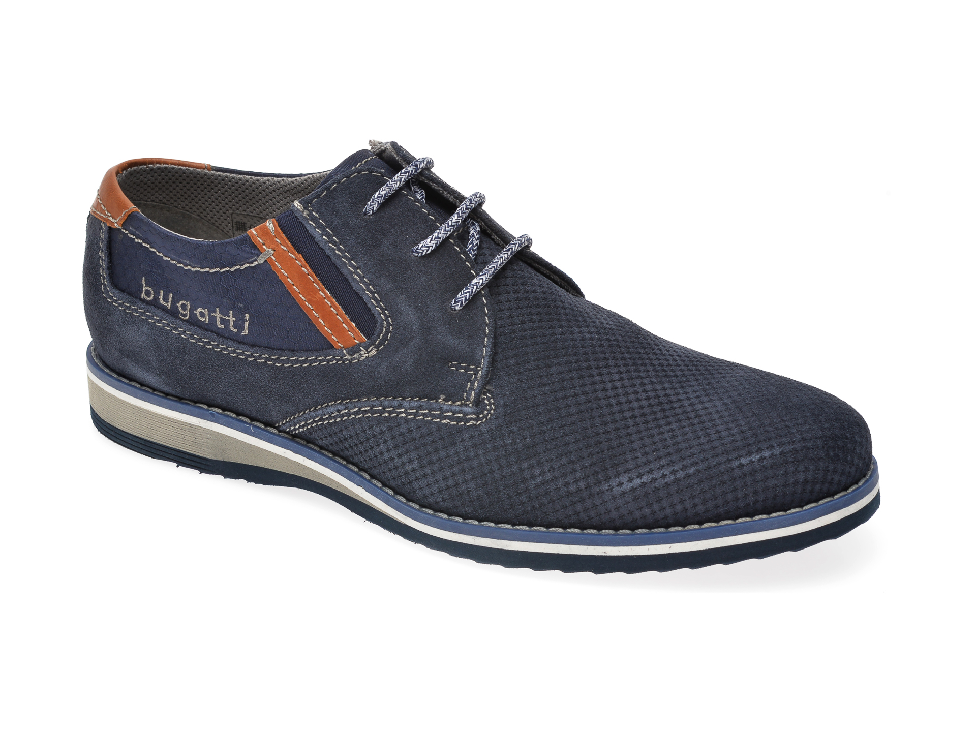 Pantofi Bugatti Bleumarin, 68404, Din Piele Intoarsa