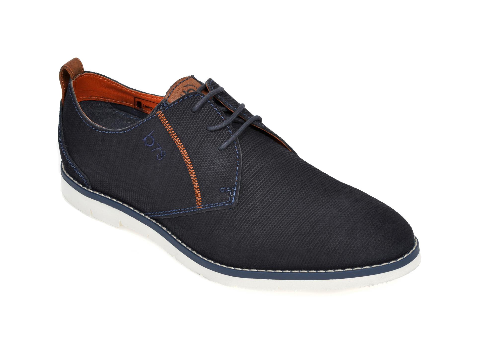 Pantofi BUGATTI bleumarin, 91901, din piele intoarsa
