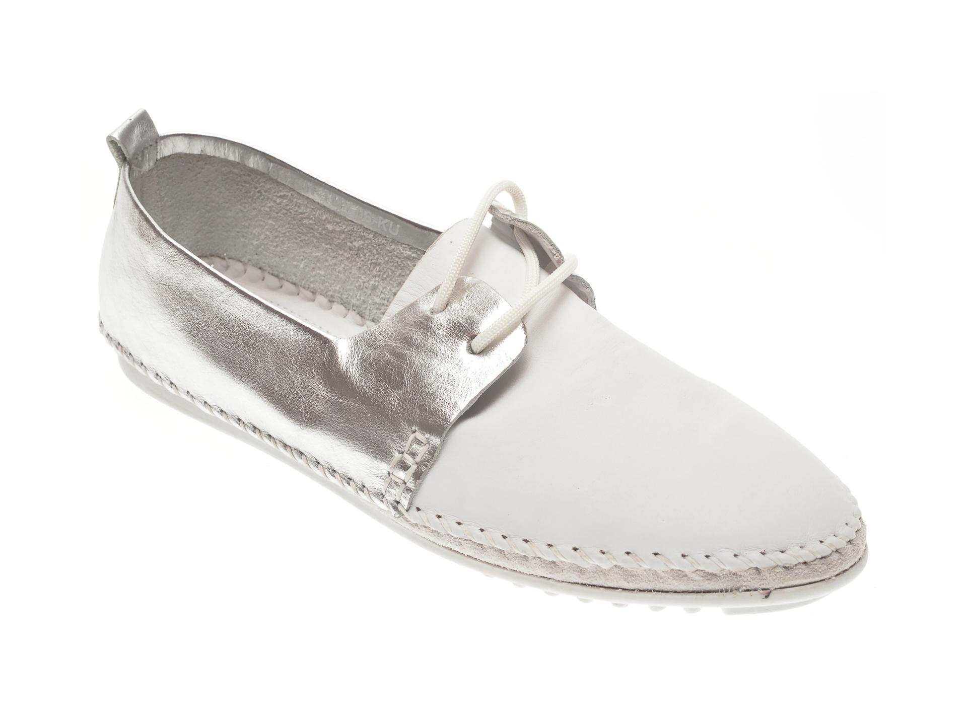 Pantofi CALIPSO albi, 102, din piele naturala