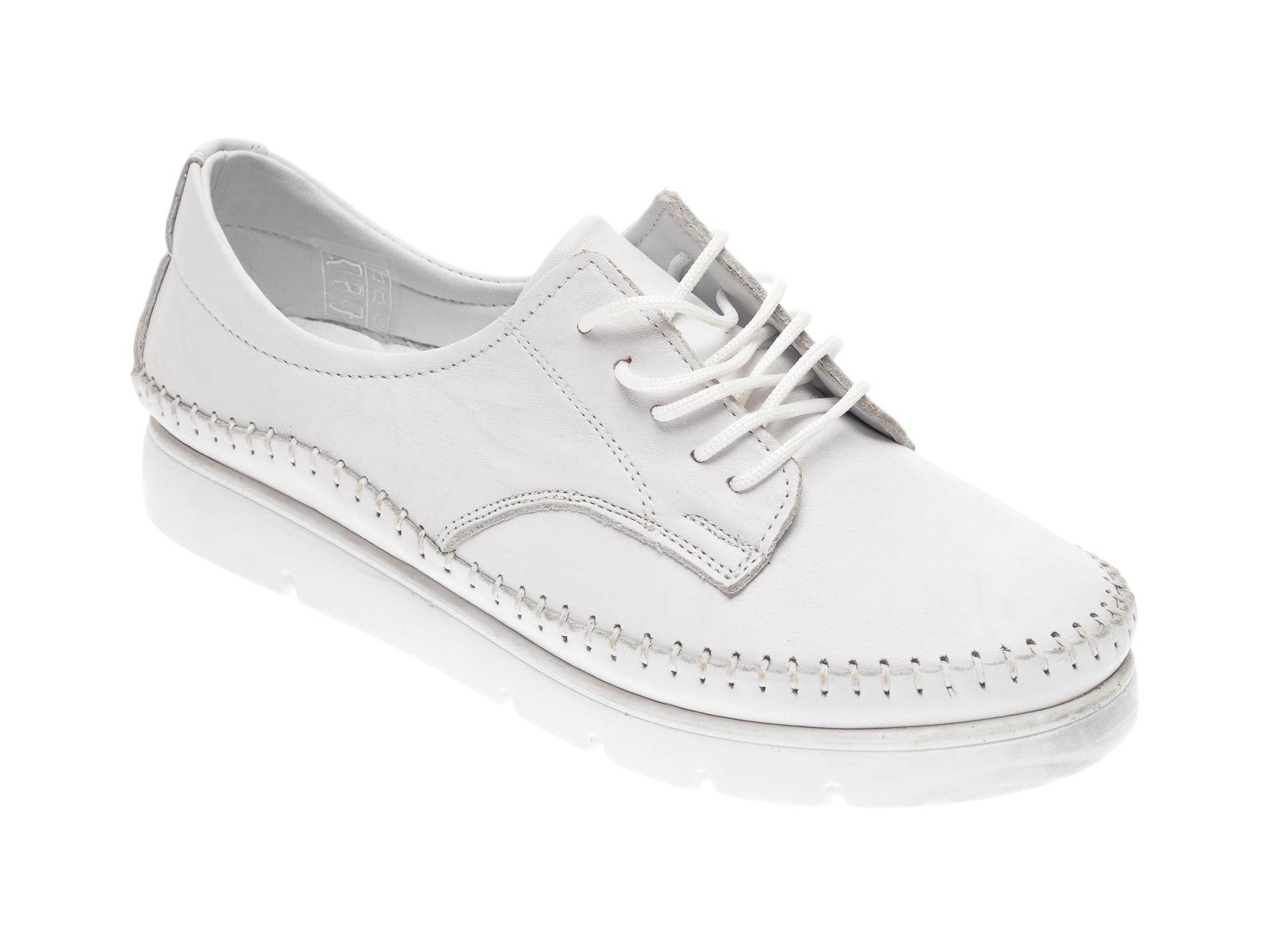 Pantofi CITY LIFE albi, 1768, din piele naturala