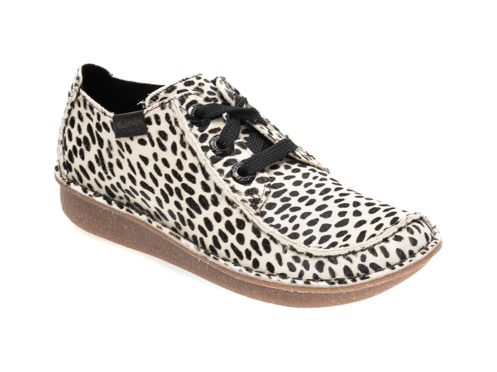 Pantofi CLARKS alb-negru, FUNNY DREAM, din piele naturala