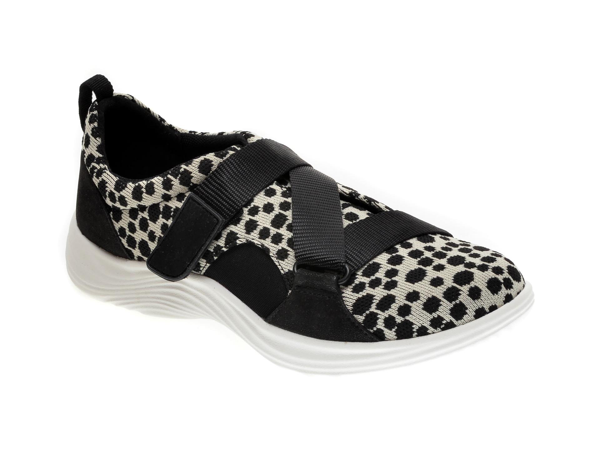 Pantofi CLARKS alb-negru, LULU GO, din material textil imagine