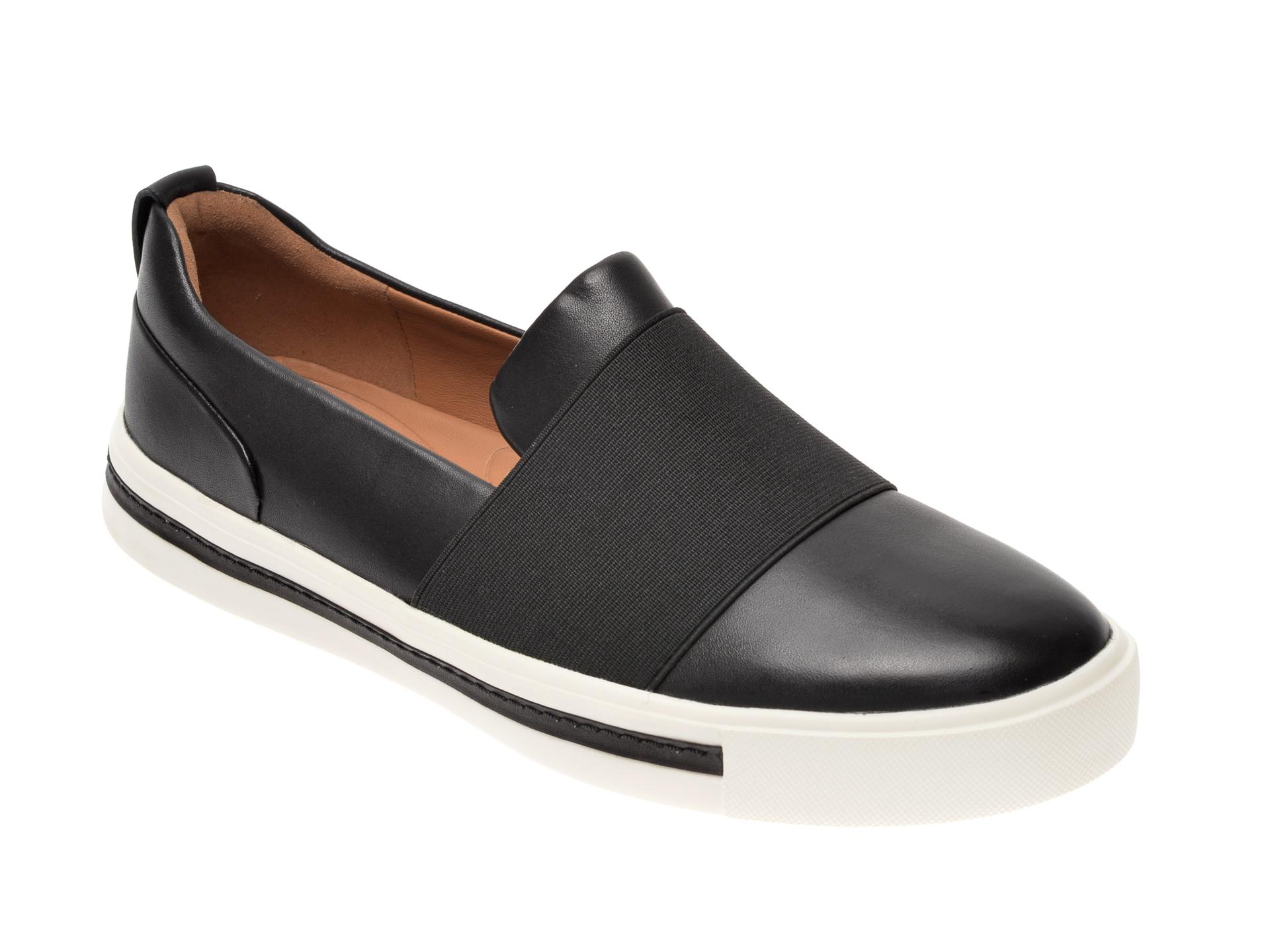 Pantofi CLARKS alb-negru, Un Maui Strap, din piele naturala imagine