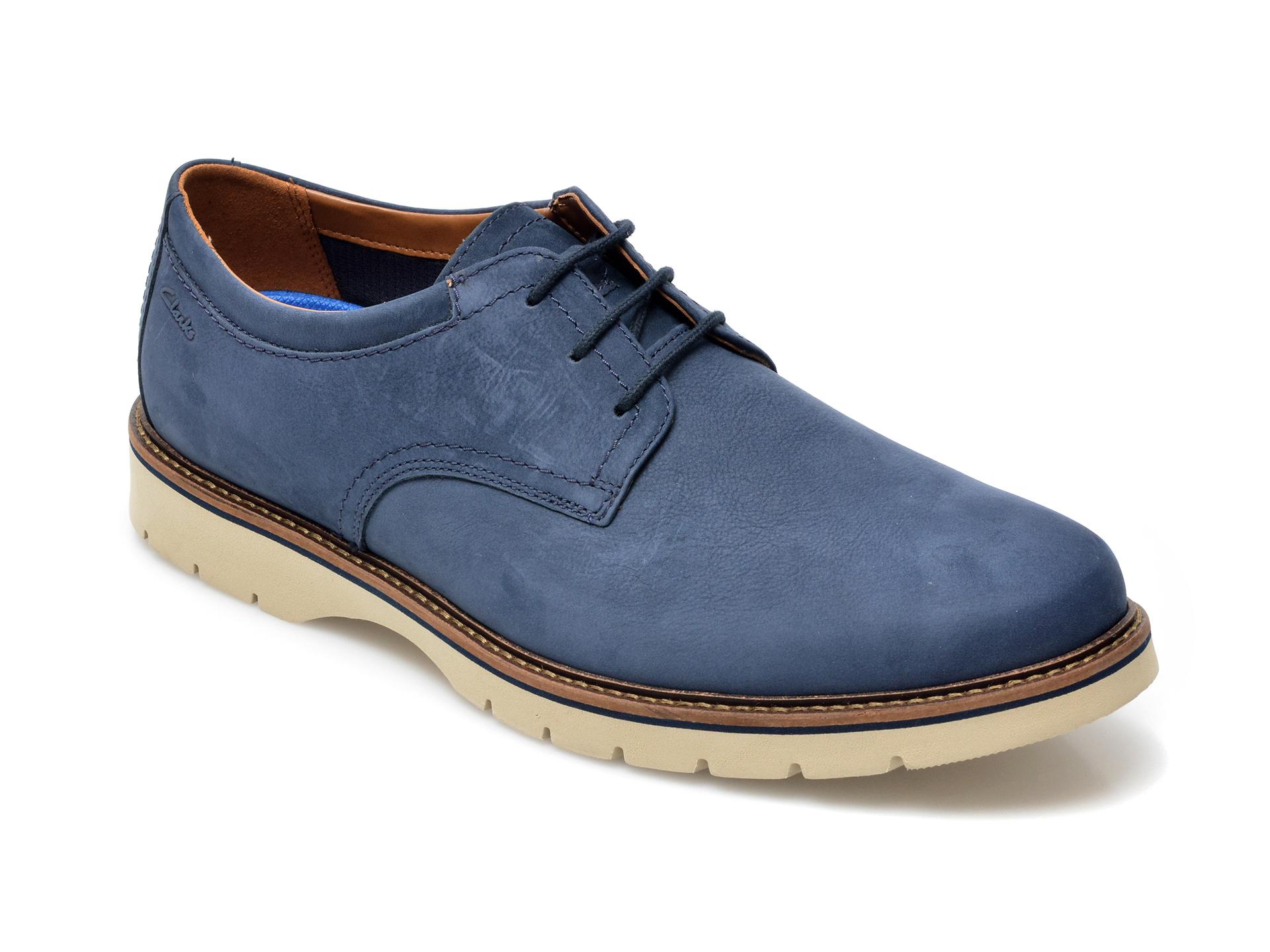 Pantofi CLARKS albastri, Bayhill Plain, din nabuc imagine otter.ro