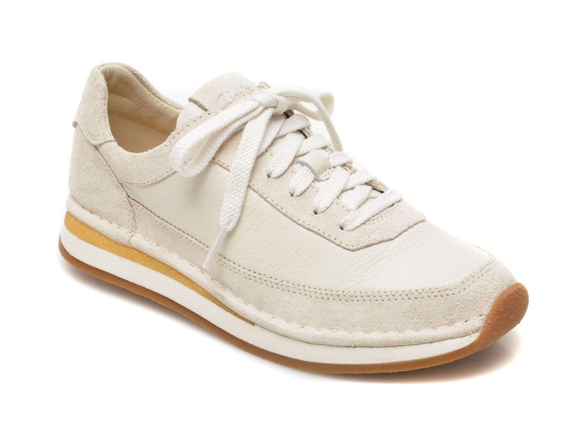 Pantofi CLARKS albi, Craftrun Lace, din piele intoarsa imagine otter.ro