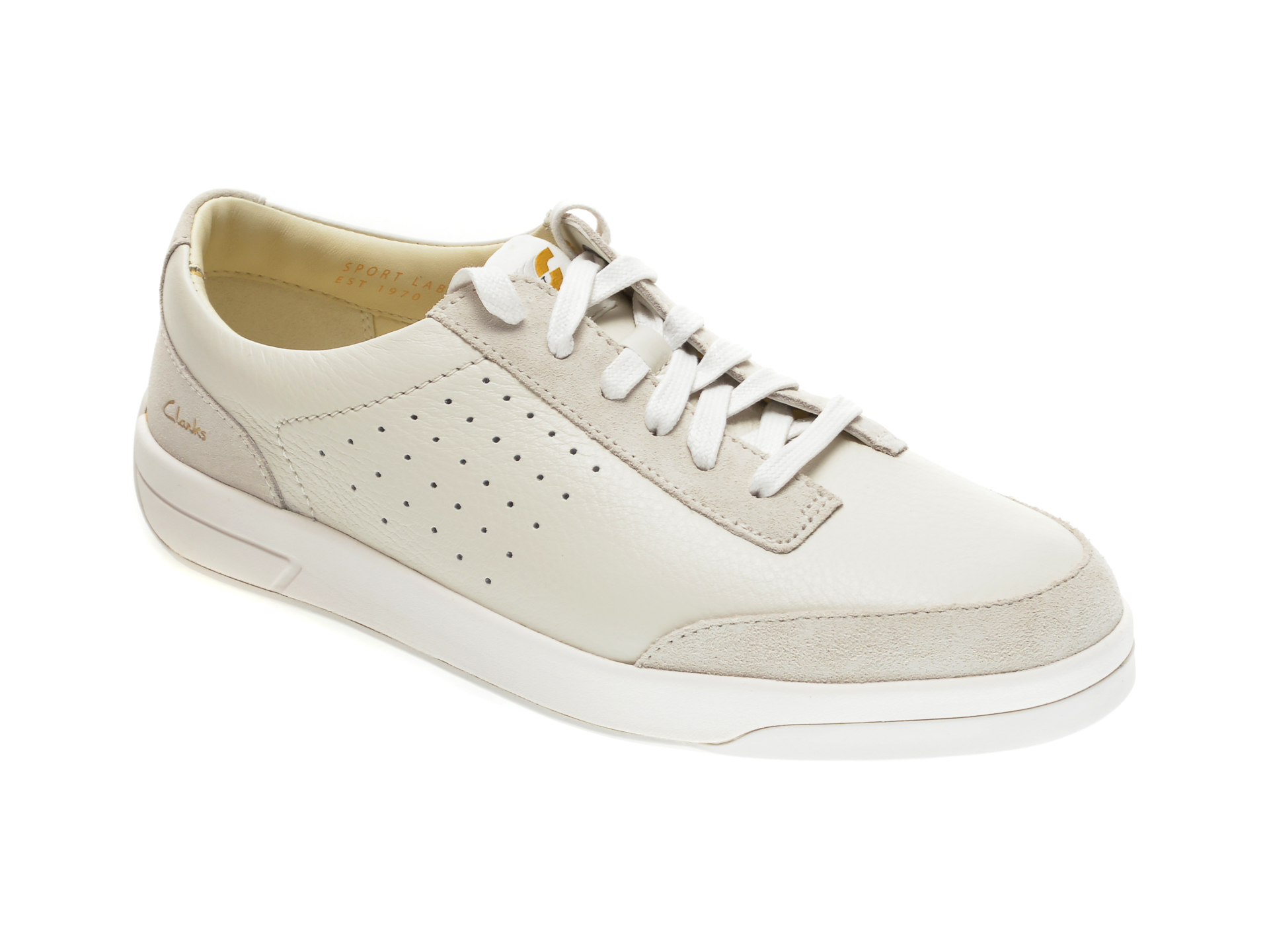 Pantofi CLARKS albi, HERO AIR LACE, din piele naturala imagine
