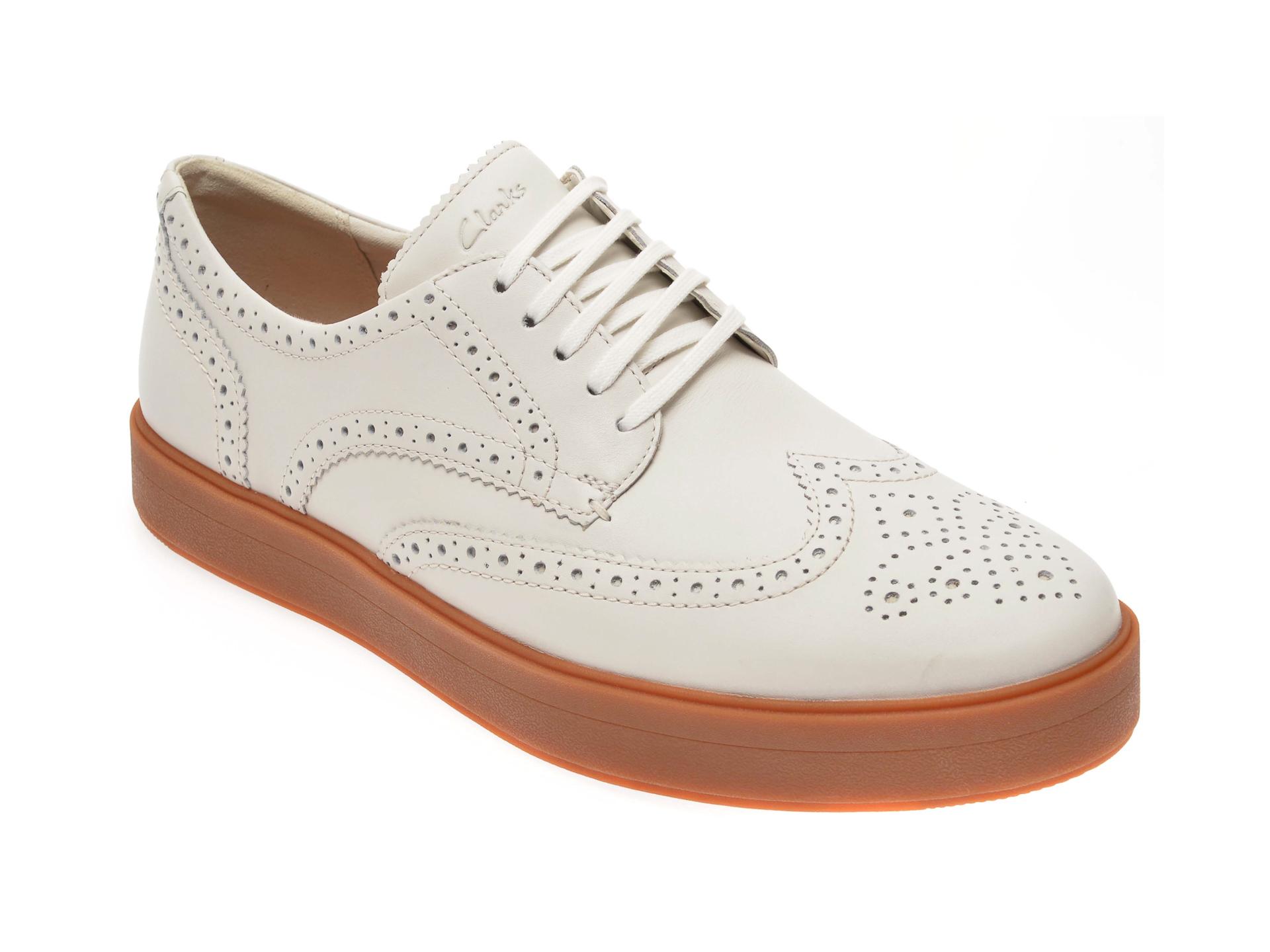 Pantofi CLARKS albi, Hero Limit, din piele naturala imagine