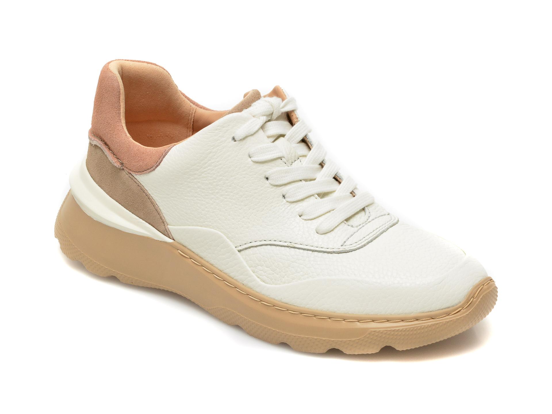 Pantofi CLARKS albi, Sprintlitelace, din piele naturala imagine otter.ro 2021