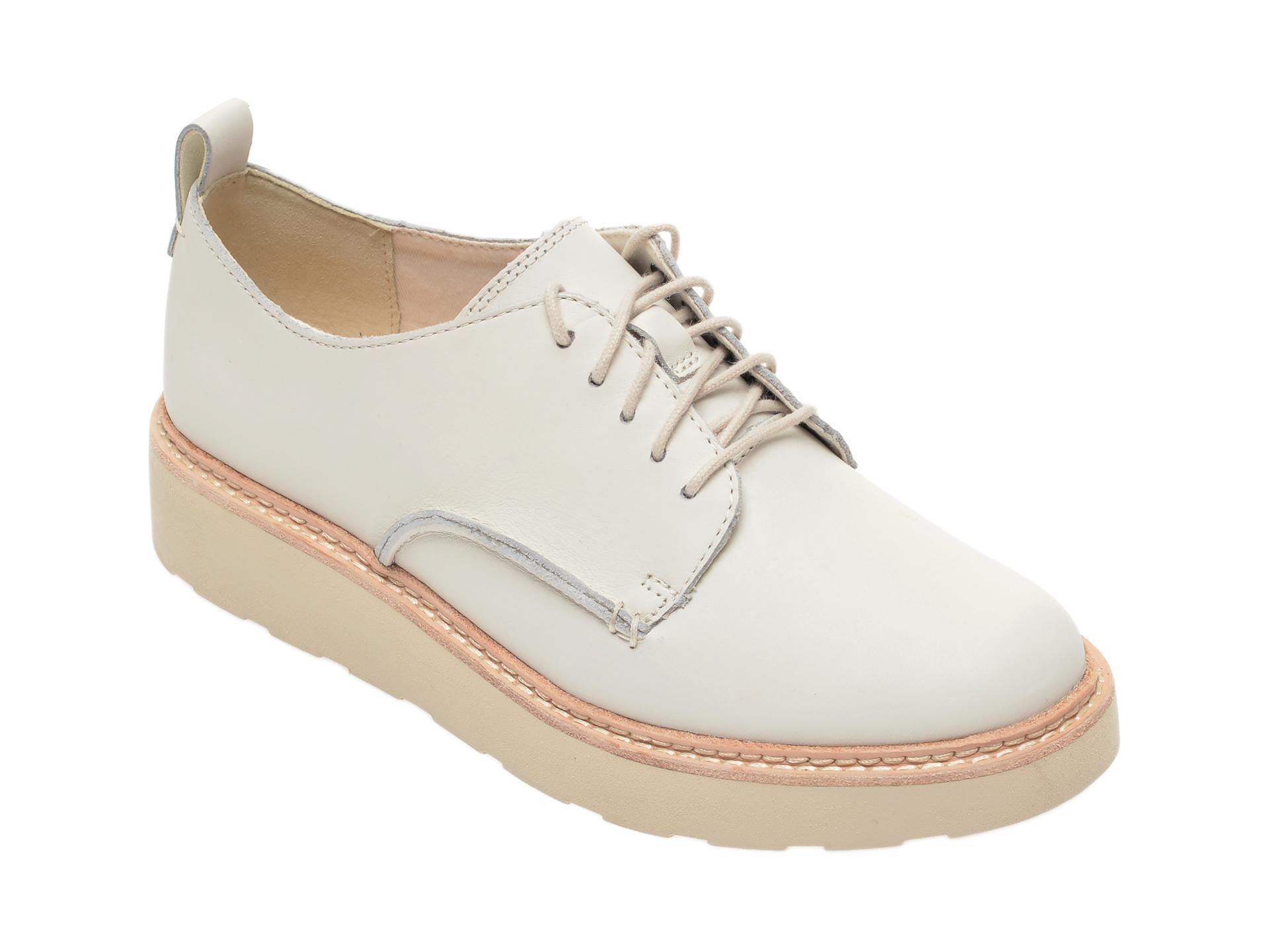 Pantofi CLARKS albi, Trace Walk, din piele naturala imagine