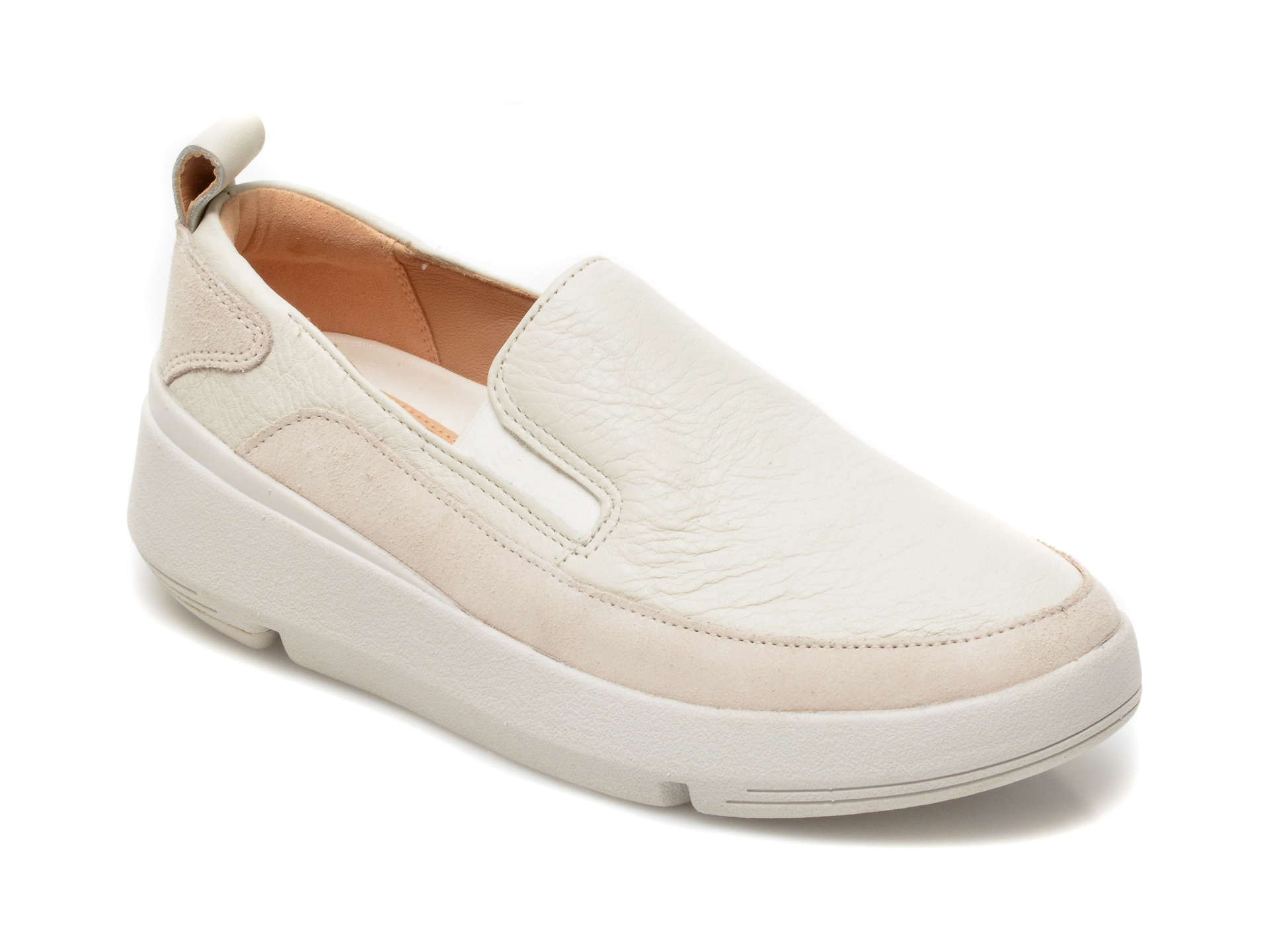 Pantofi CLARKS albi, Tri Flash Step, din piele naturala imagine otter.ro