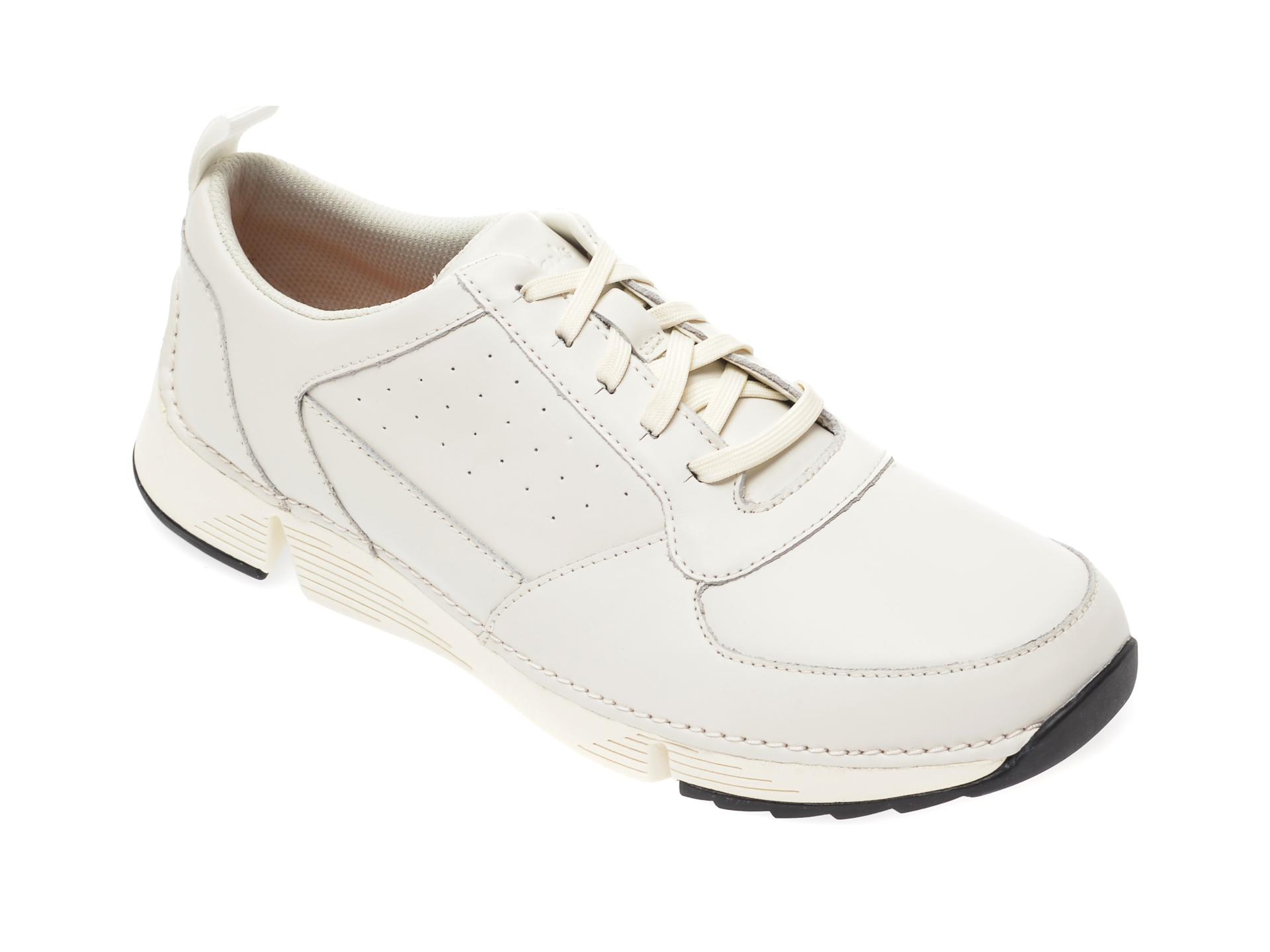 Pantofi CLARKS albi, Tri Sprint, din piele naturala imagine