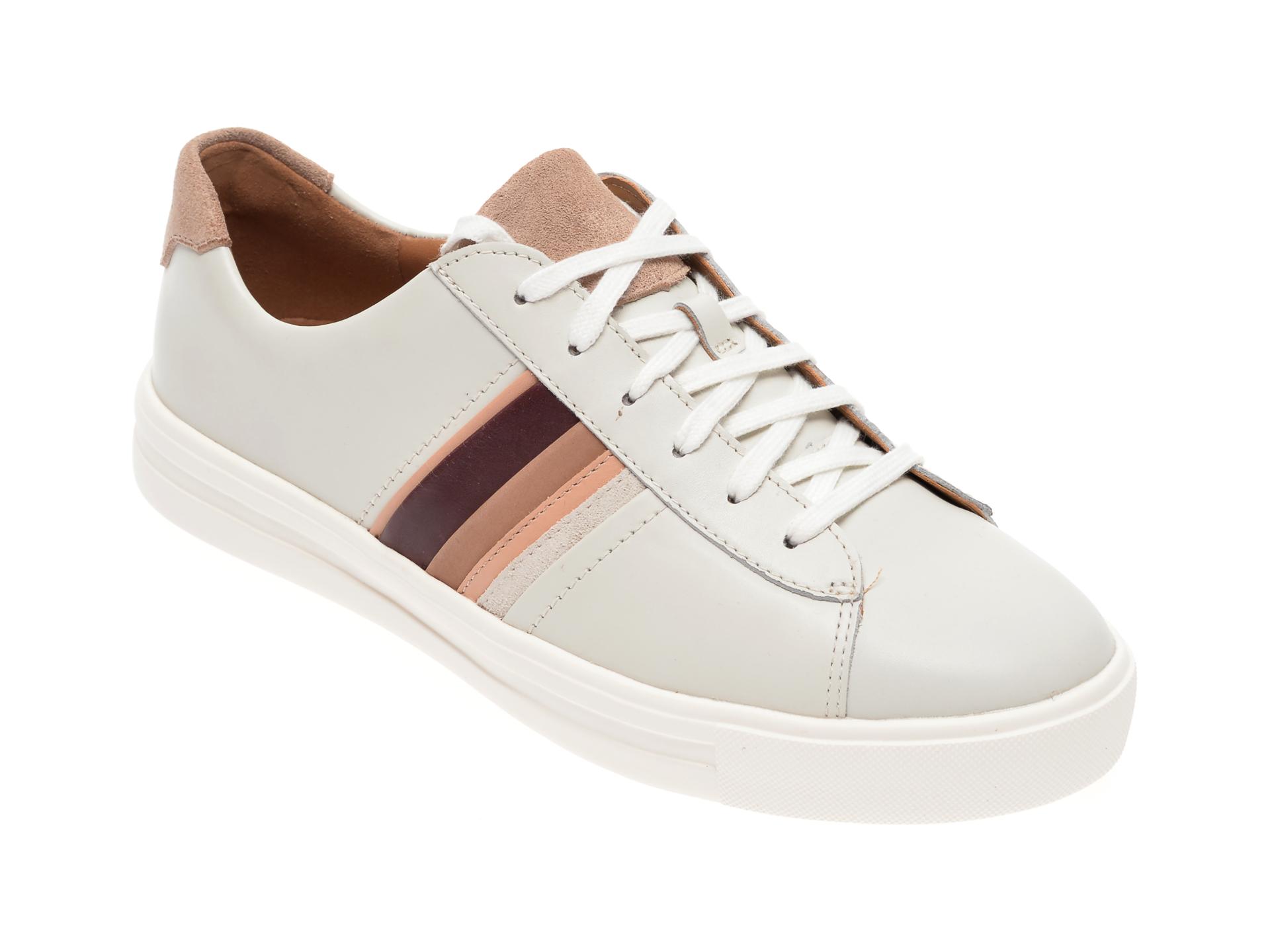 Pantofi CLARKS albi, Un Maui Band, din piele naturala