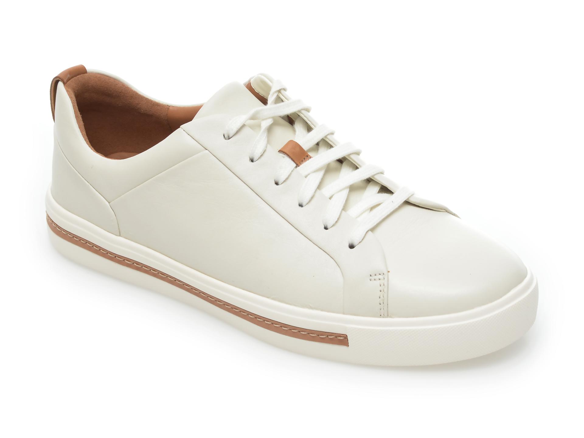 Pantofi CLARKS albi, Un Maui Lace, din piele naturala imagine otter.ro
