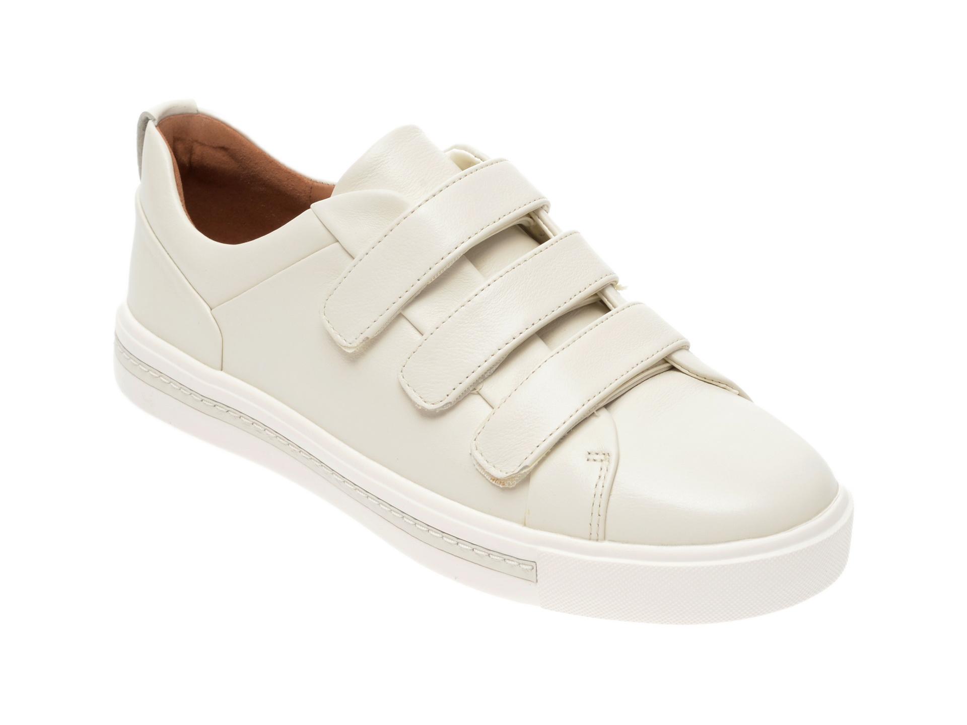Pantofi CLARKS albi, Un Maui Strap, din piele naturala