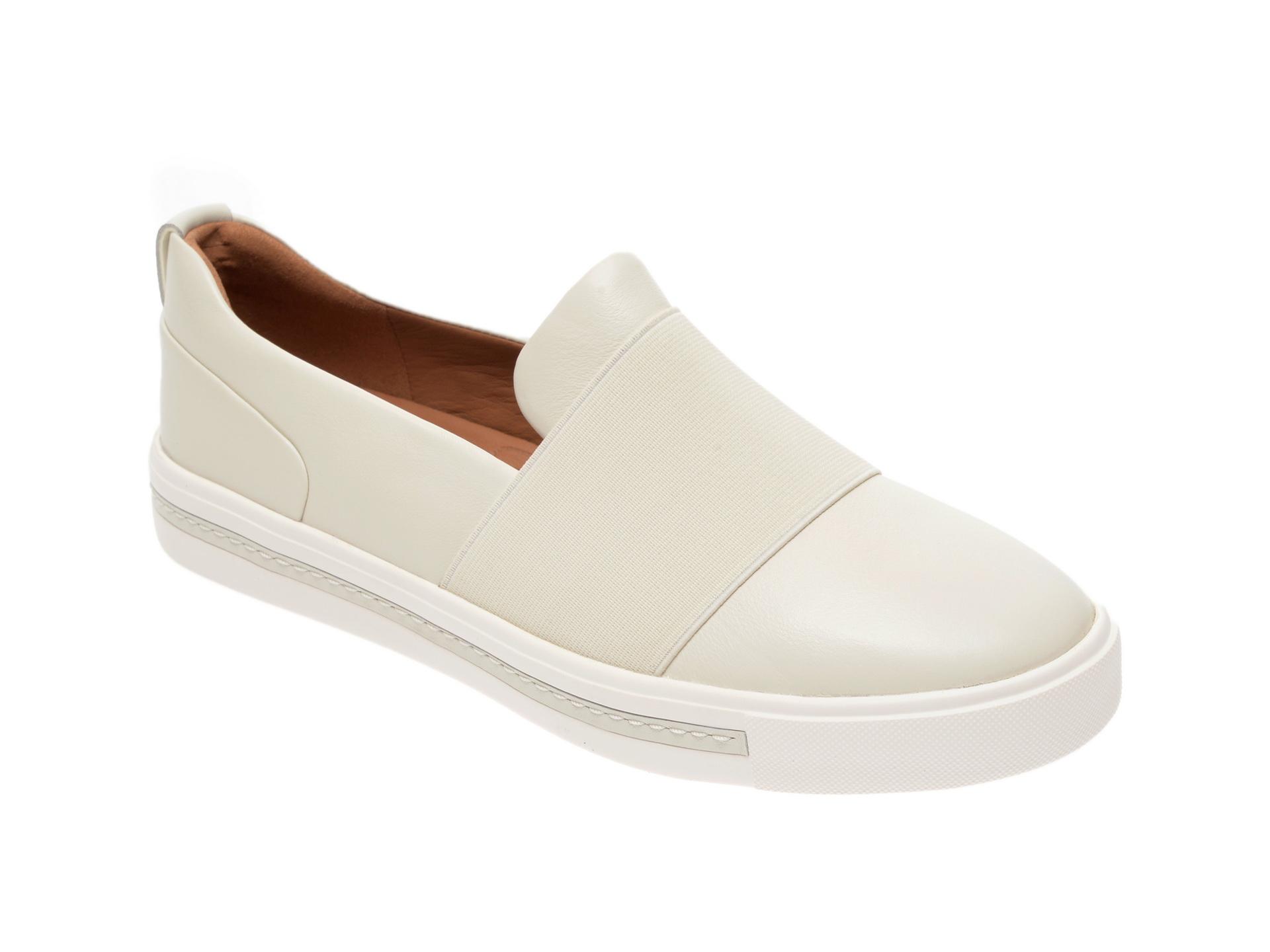 Pantofi sport CLARKS albi, Sift Lace, din material textil si piele naturala