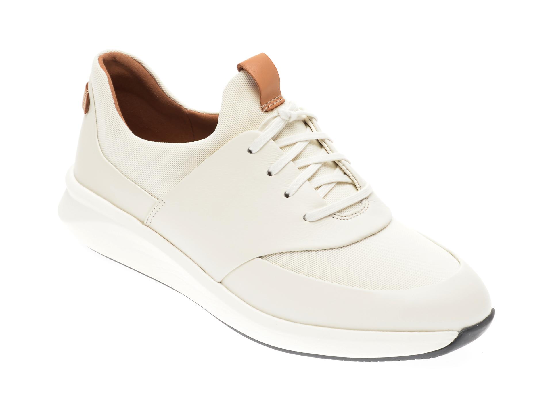 Pantofi CLARKS albi, Un Rio Lace, din piele naturala