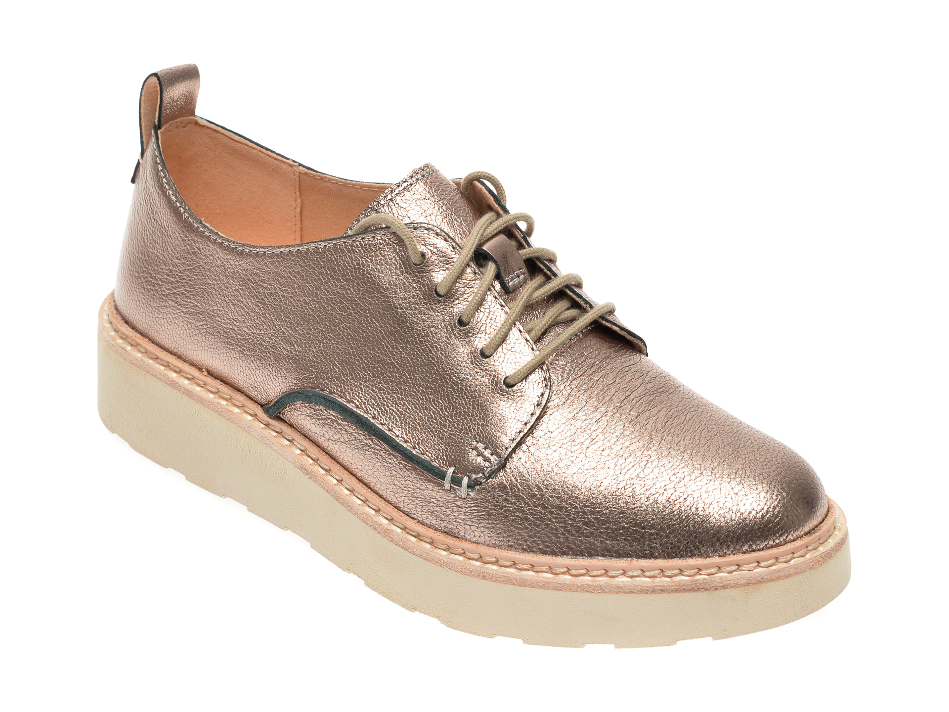 Pantofi CLARKS aurii, Kaylin Cara, din piele naturala