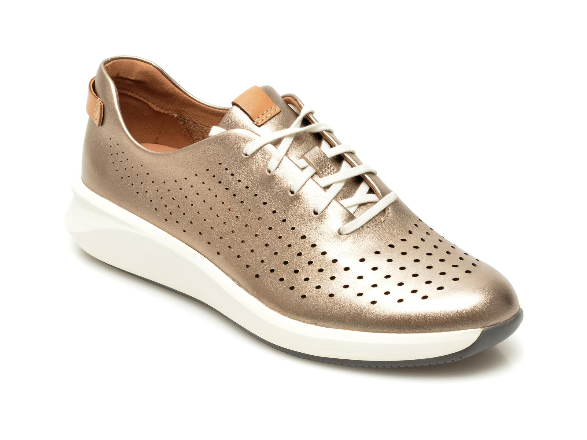 Pantofi CLARKS aurii, Un Rio Tie, din piele naturala