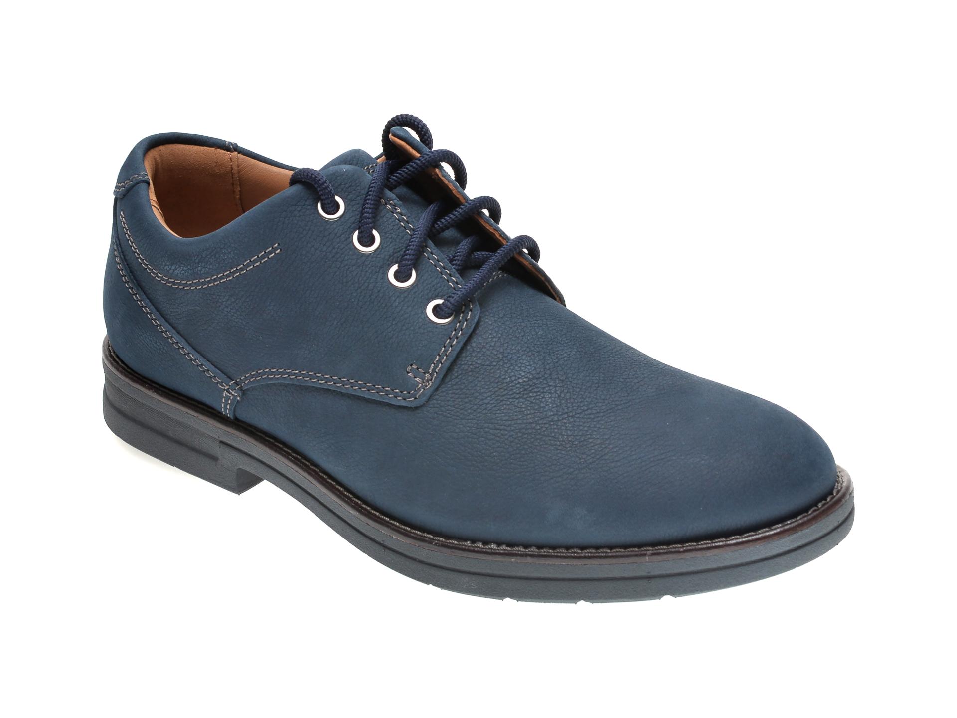 Pantofi CLARKS bleumarin, BANNING PLAIN, din nabuc imagine