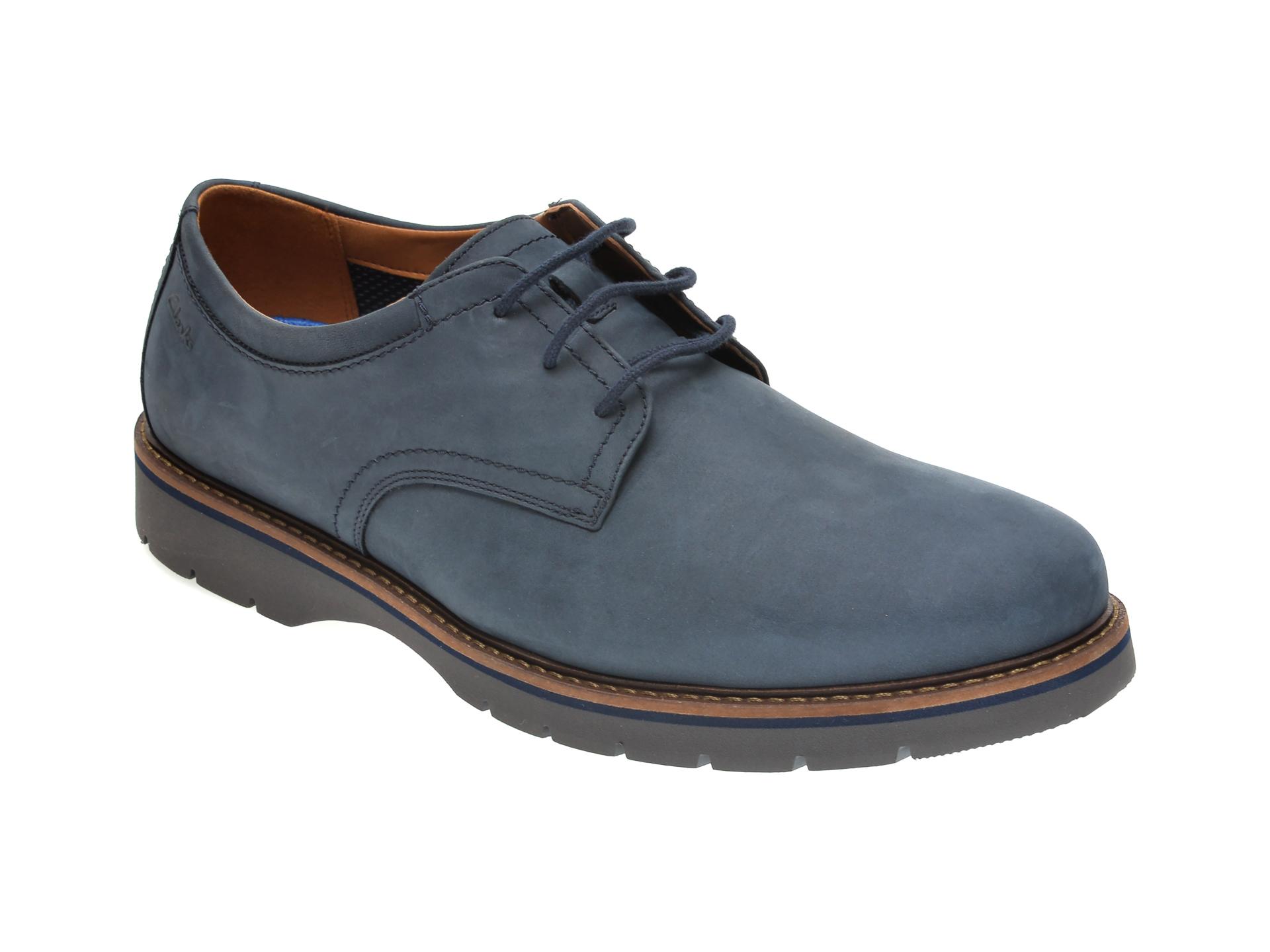 Pantofi CLARKS bleumarin, BAYHILL PLAIN, din nabuc imagine