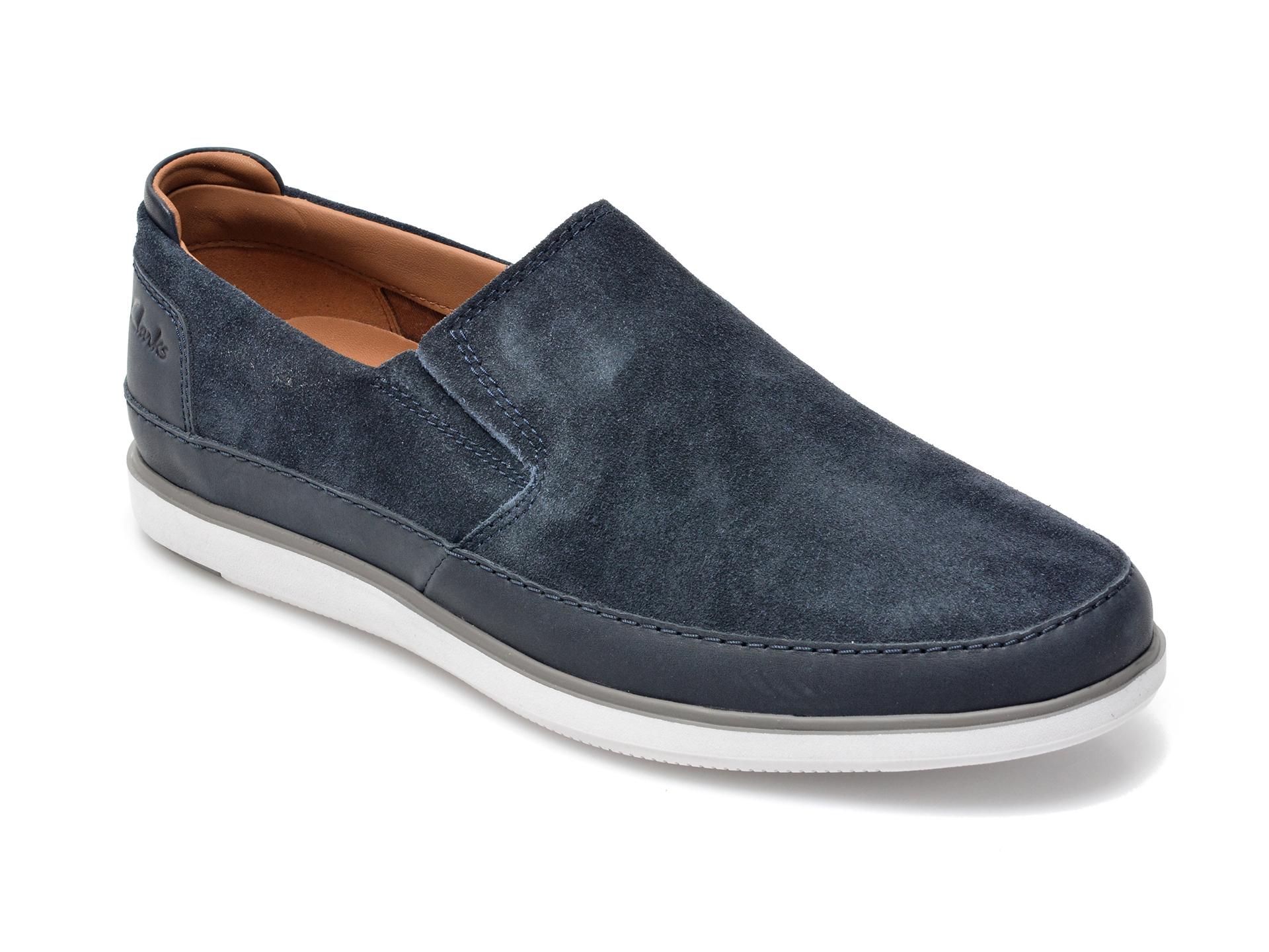 Pantofi Clarks Bleumarin, Bratton Step, Din Piele Intoarsa