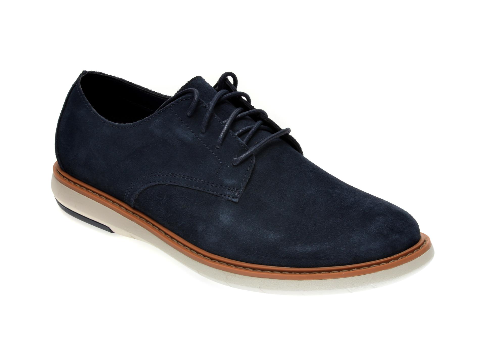 Pantofi CLARKS bleumarin, DRAPER LACE, din piele intoarsa imagine
