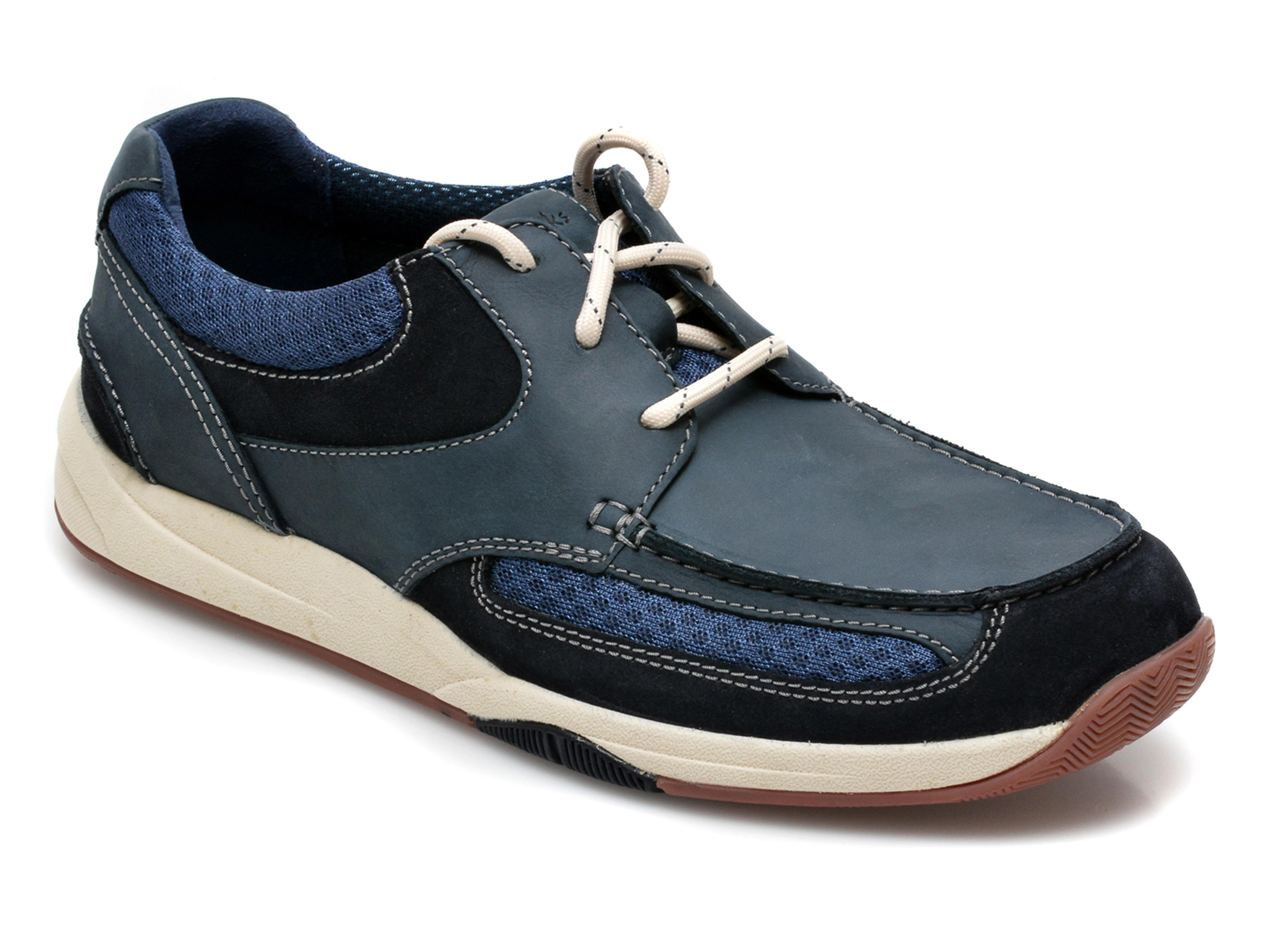 Pantofi CLARKS bleumarin, Langton Lane, din nabuc imagine otter.ro