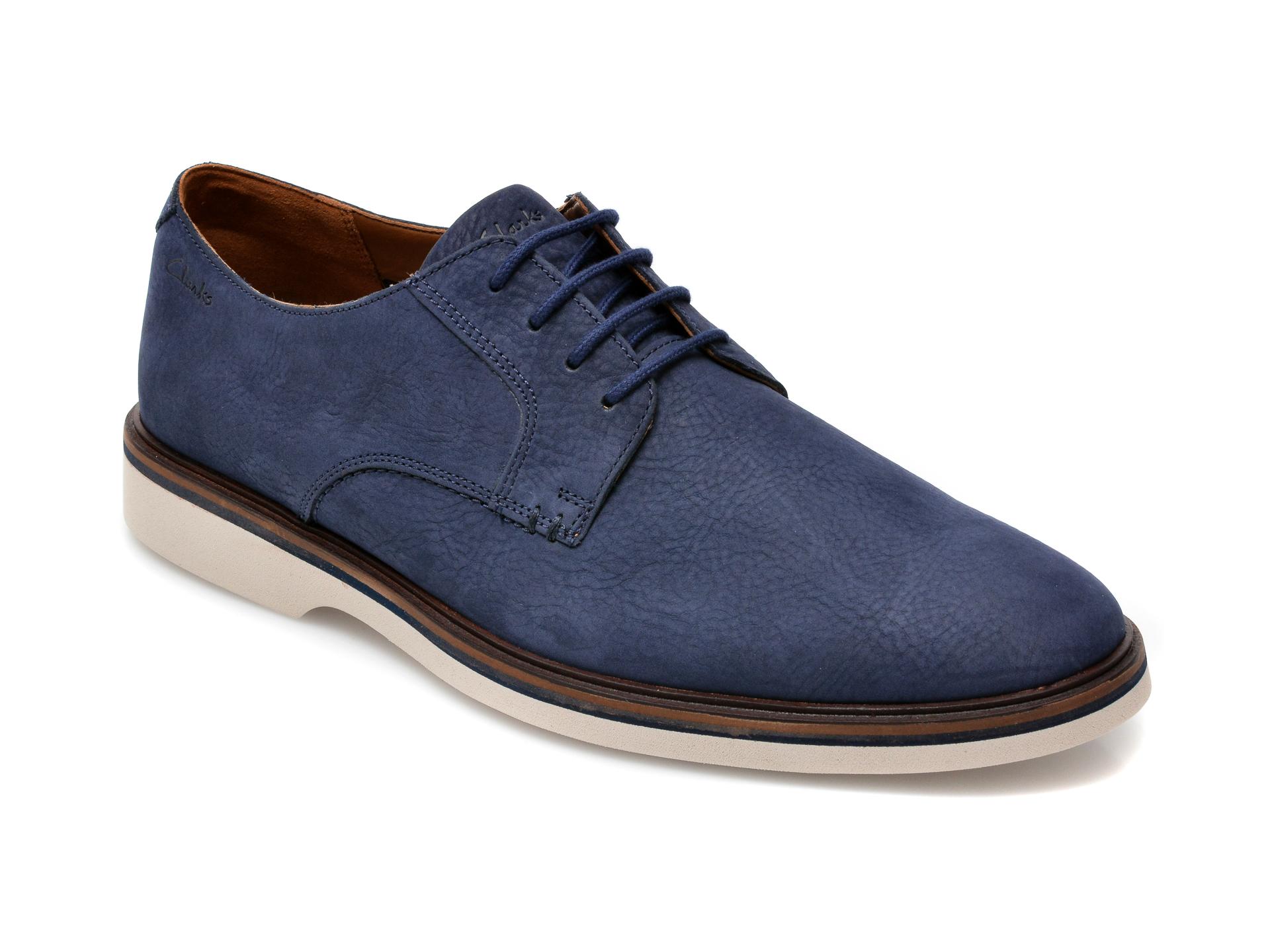 Pantofi CLARKS bleumarin, Malwood Plain, din nabuc imagine otter.ro 2021