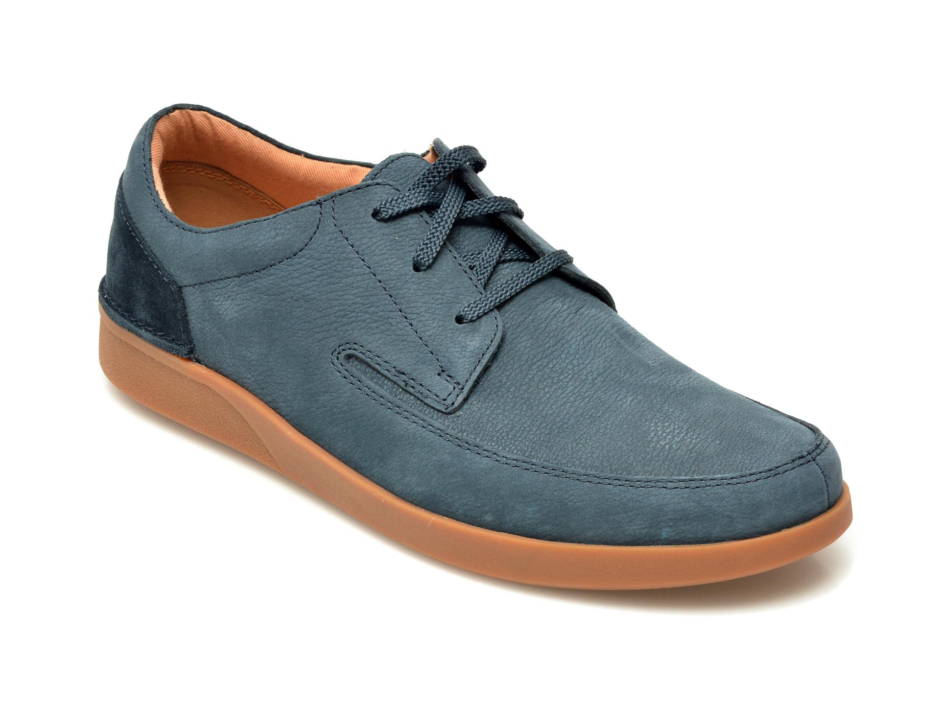 Pantofi CLARKS bleumarin, Oakland Craft, din nabuc New