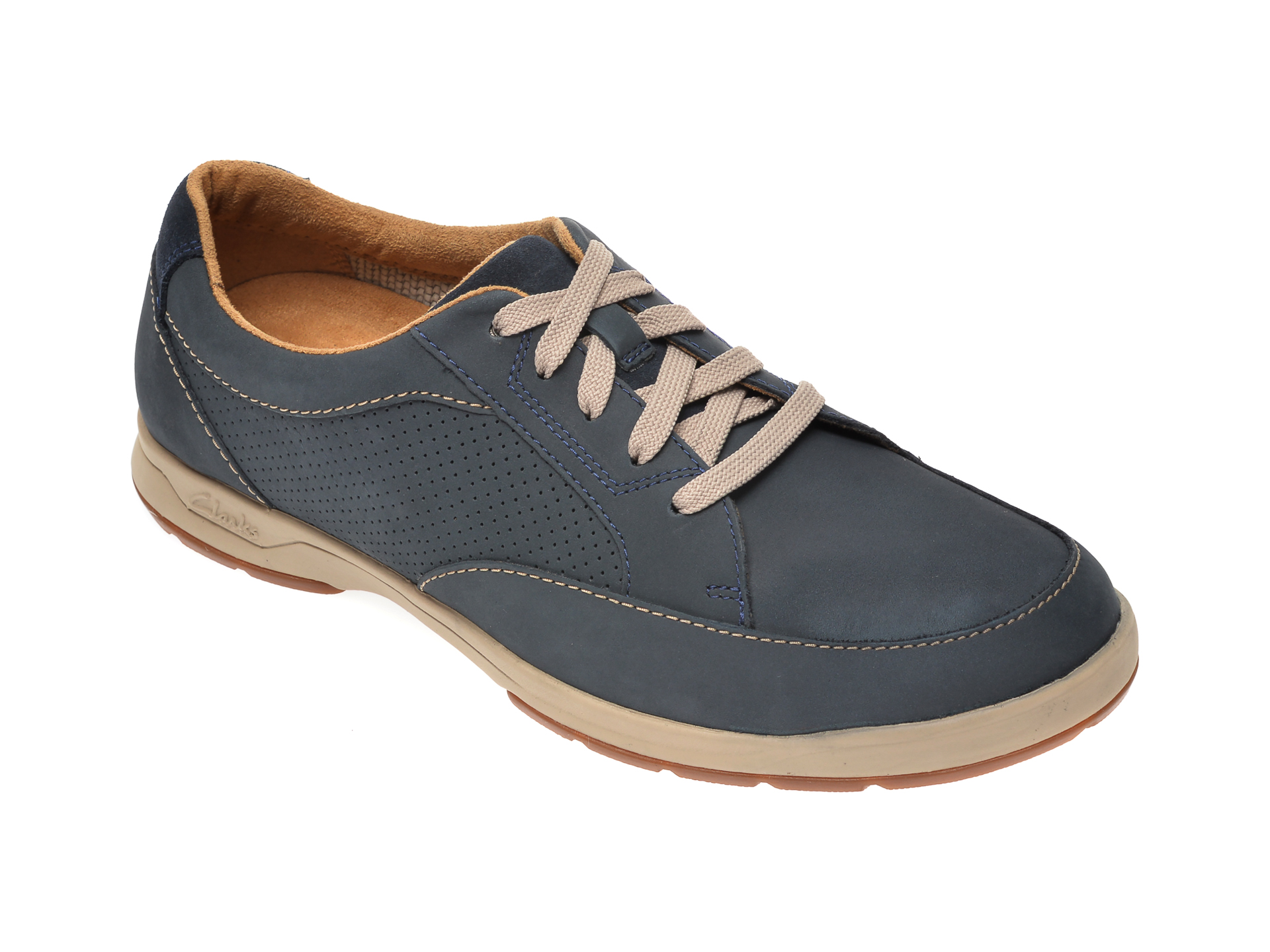 Pantofi CLARKS bleumarin, Stafford Park5, din nabuc imagine