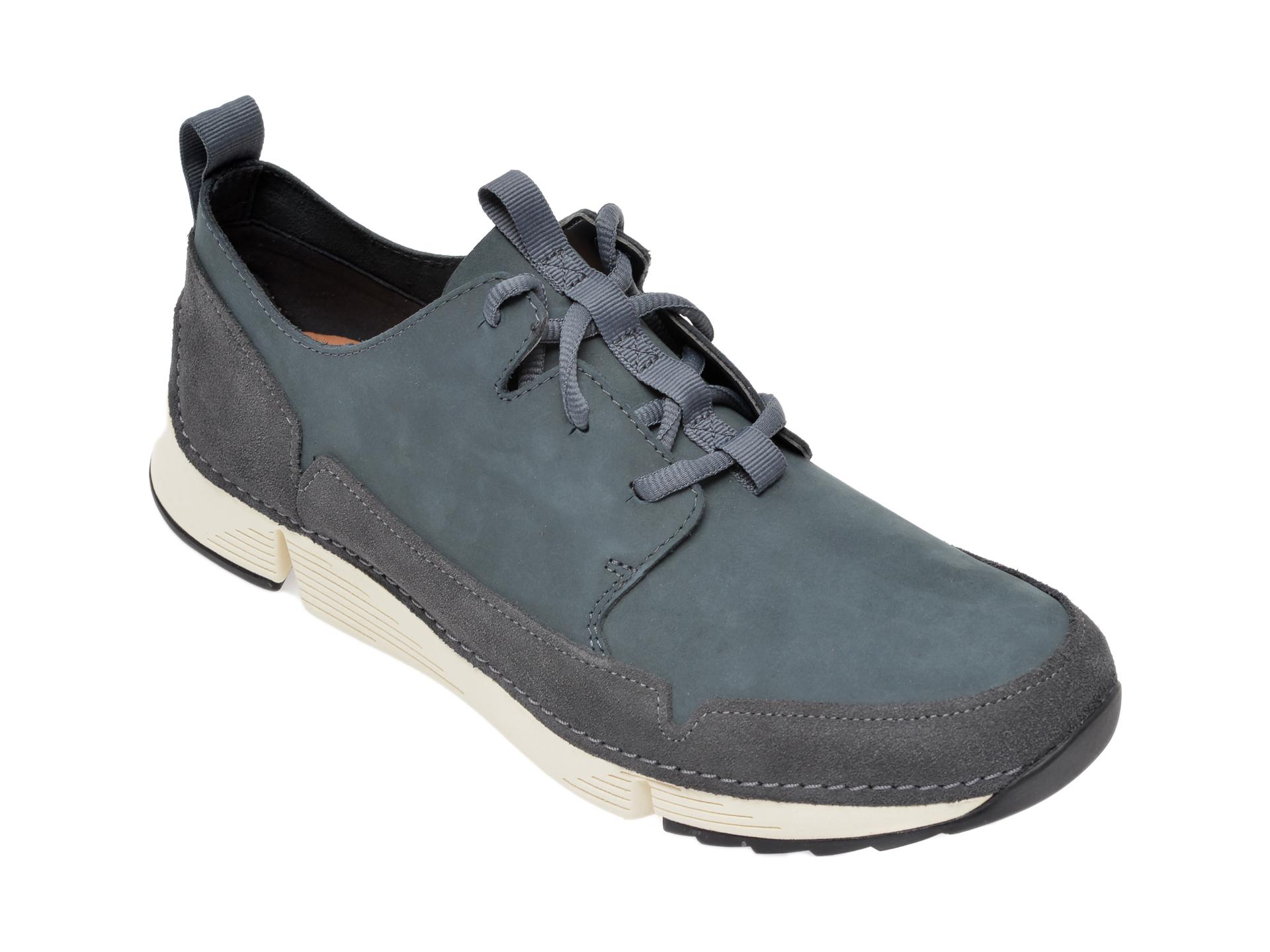 Pantofi CLARKS bleumarin, Tri Solar, din nabuc
