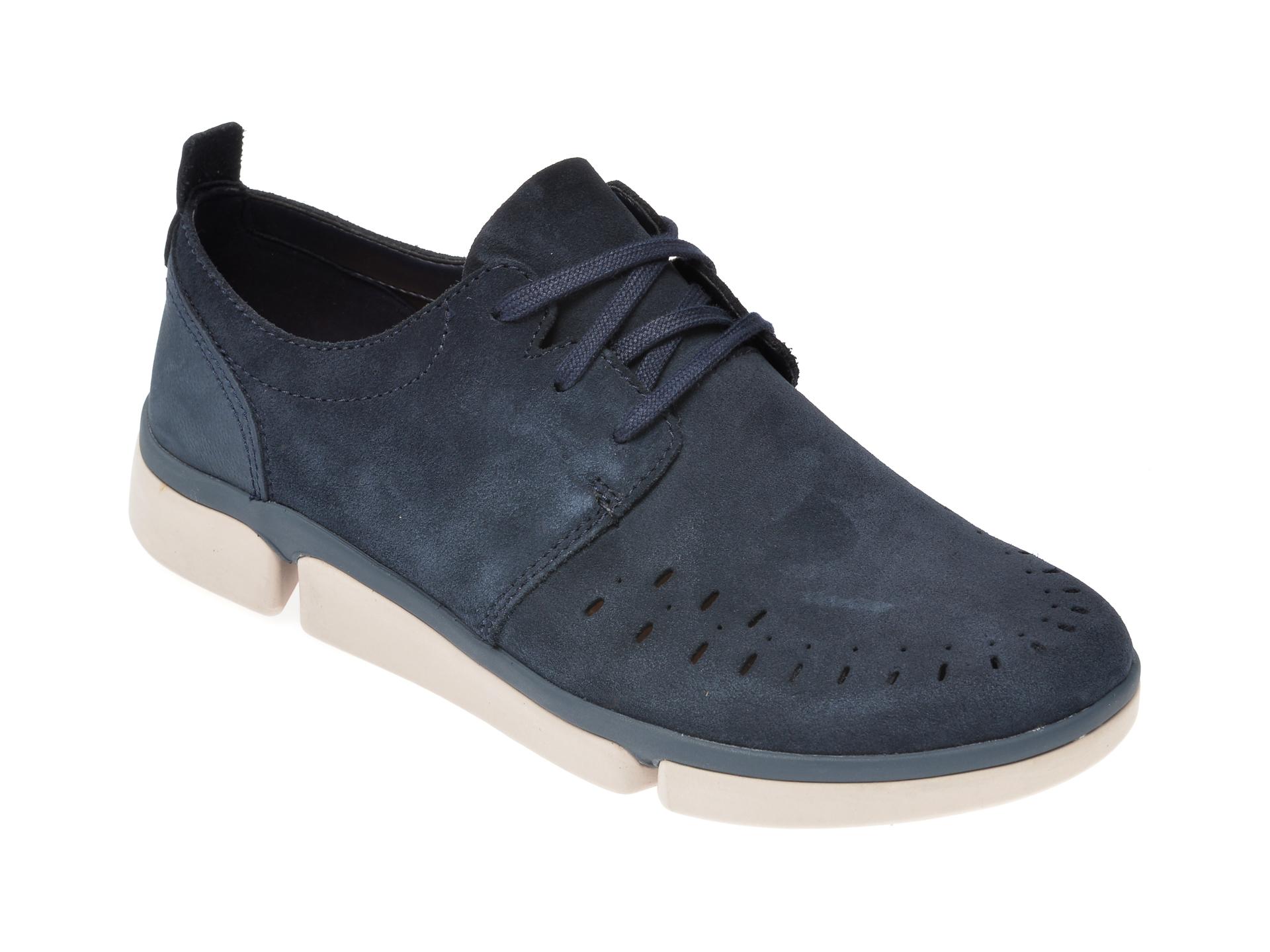 Pantofi CLARKS bleumarin, Tri Verve Boss, din piele intoarsa imagine