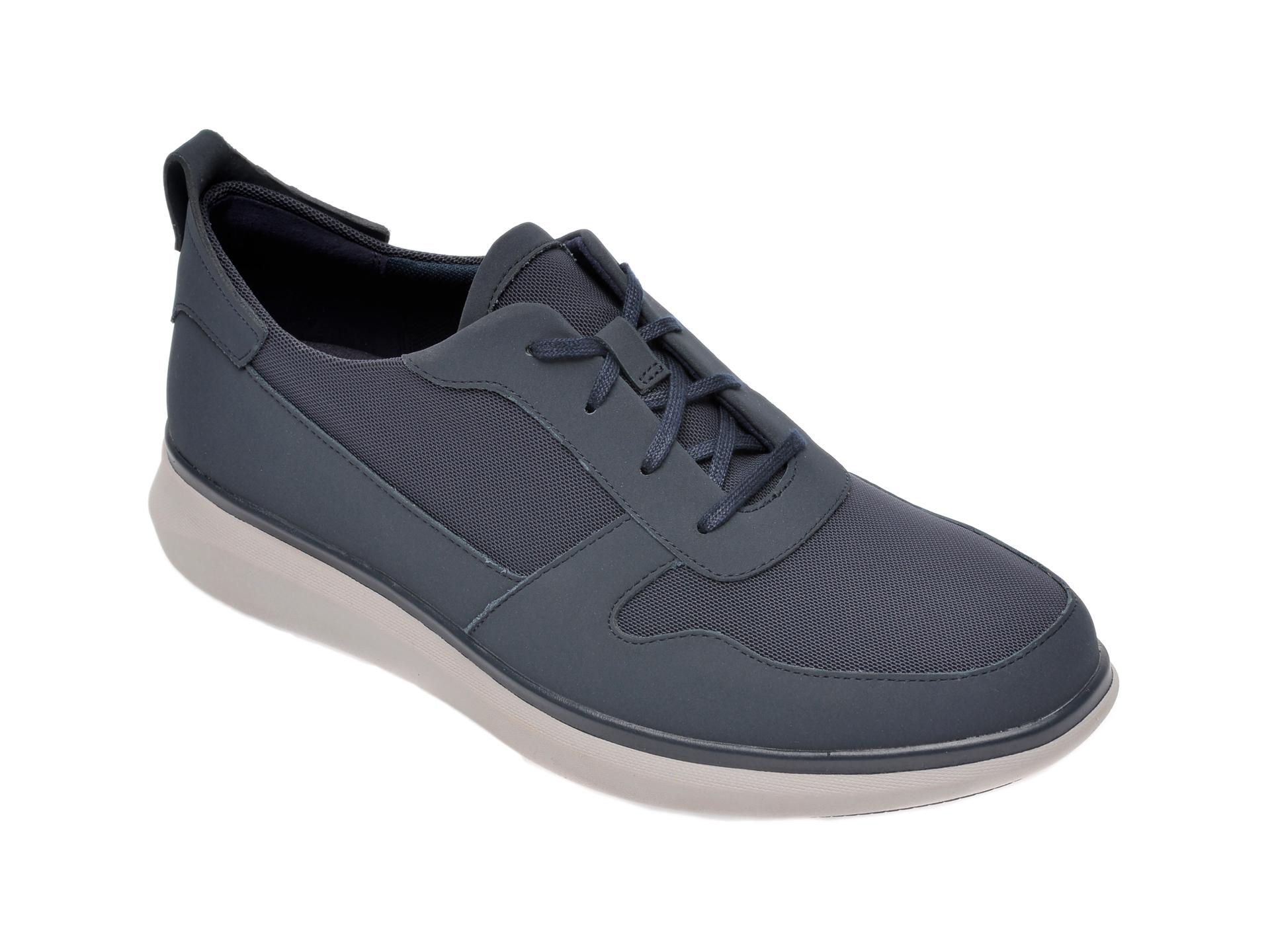Pantofi Clarks Bleumarin, Un Globe Sport, Din Nabuc Si Material Textil