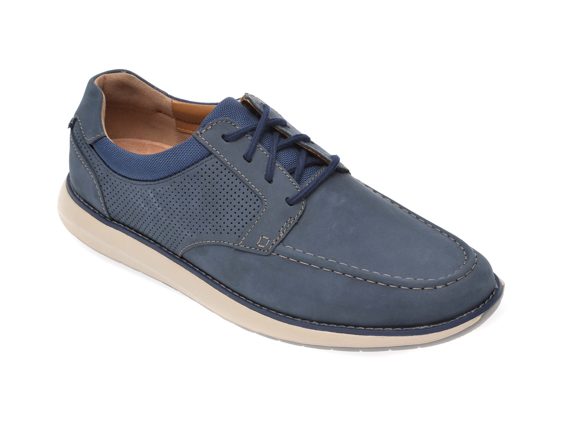 Pantofi CLARKS bleumarin, Un Pilot Tie, din nabuc imagine