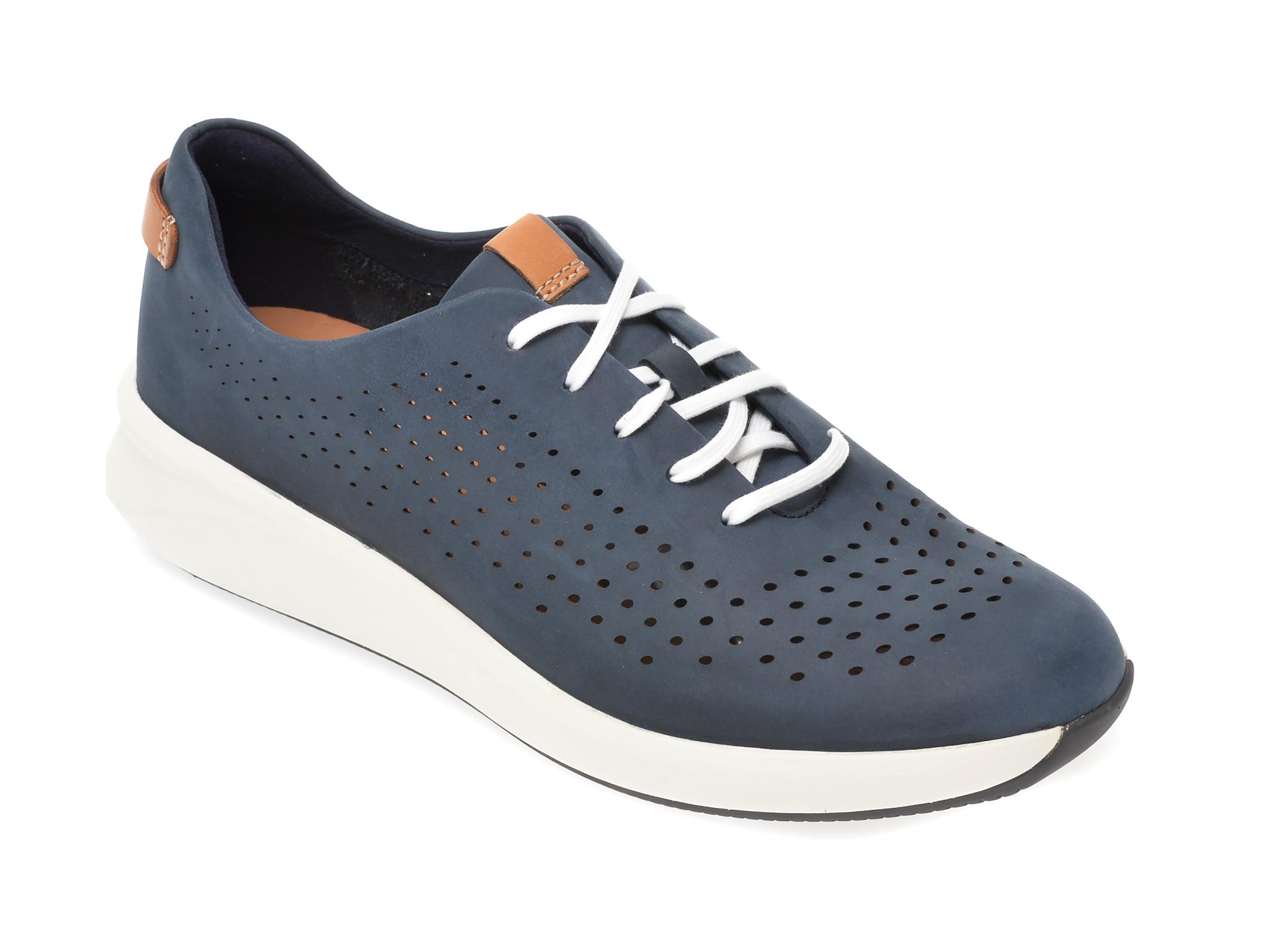 Pantofi CLARKS bleumarin, Un Rio Tie, din nabuc