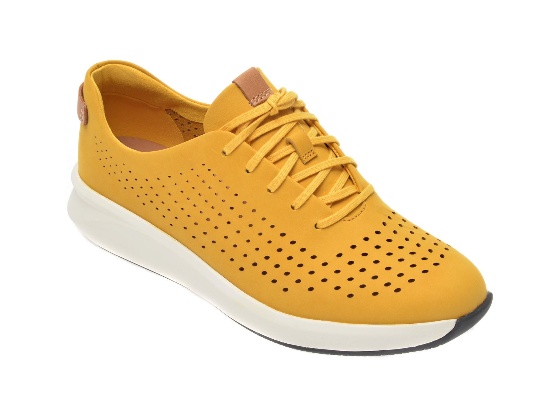 Pantofi CLARKS galbeni, Un Rio Tie, din nabuc