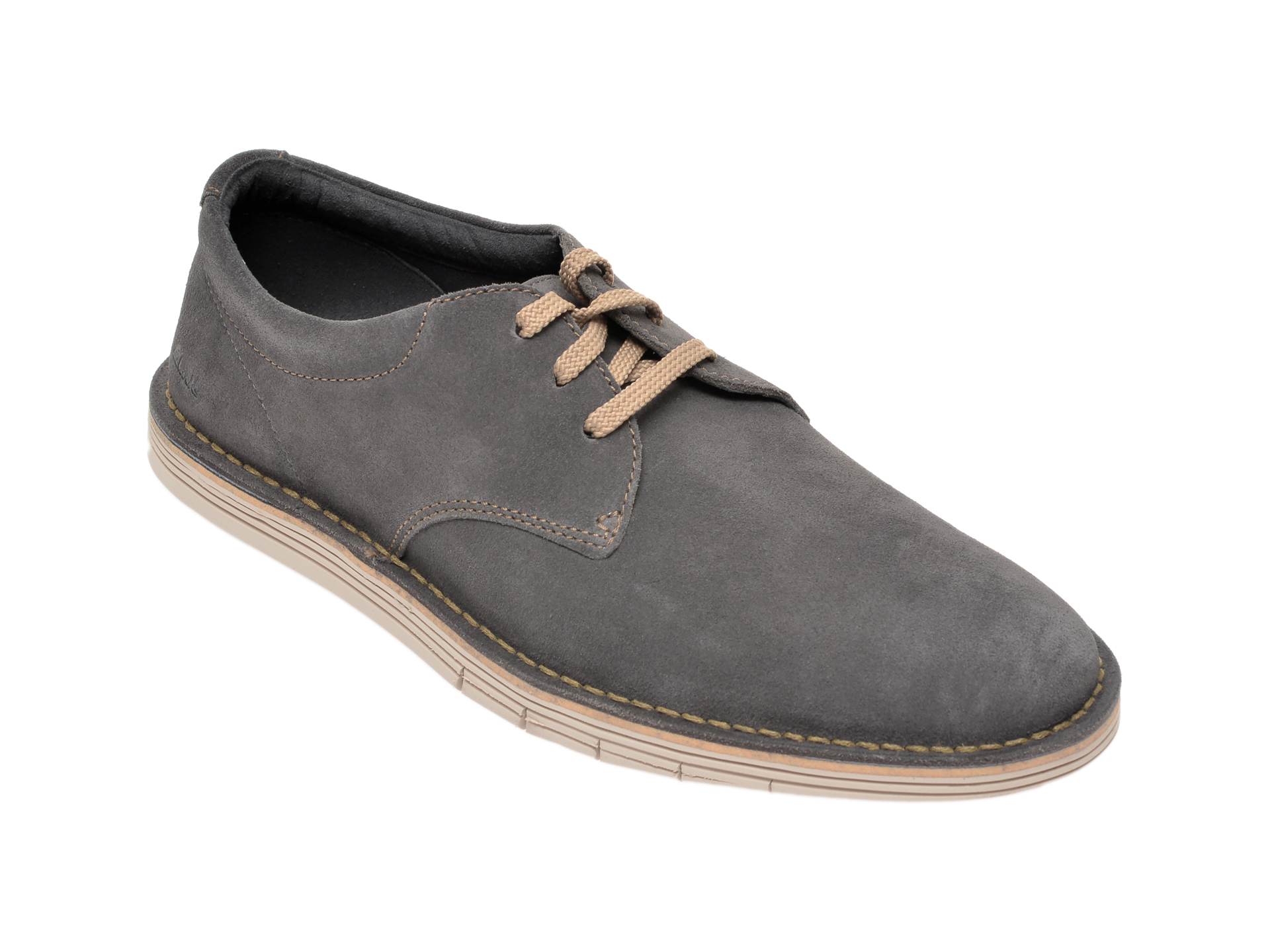 Pantofi CLARKS gri, Forge Vibe, din piele intoarsa