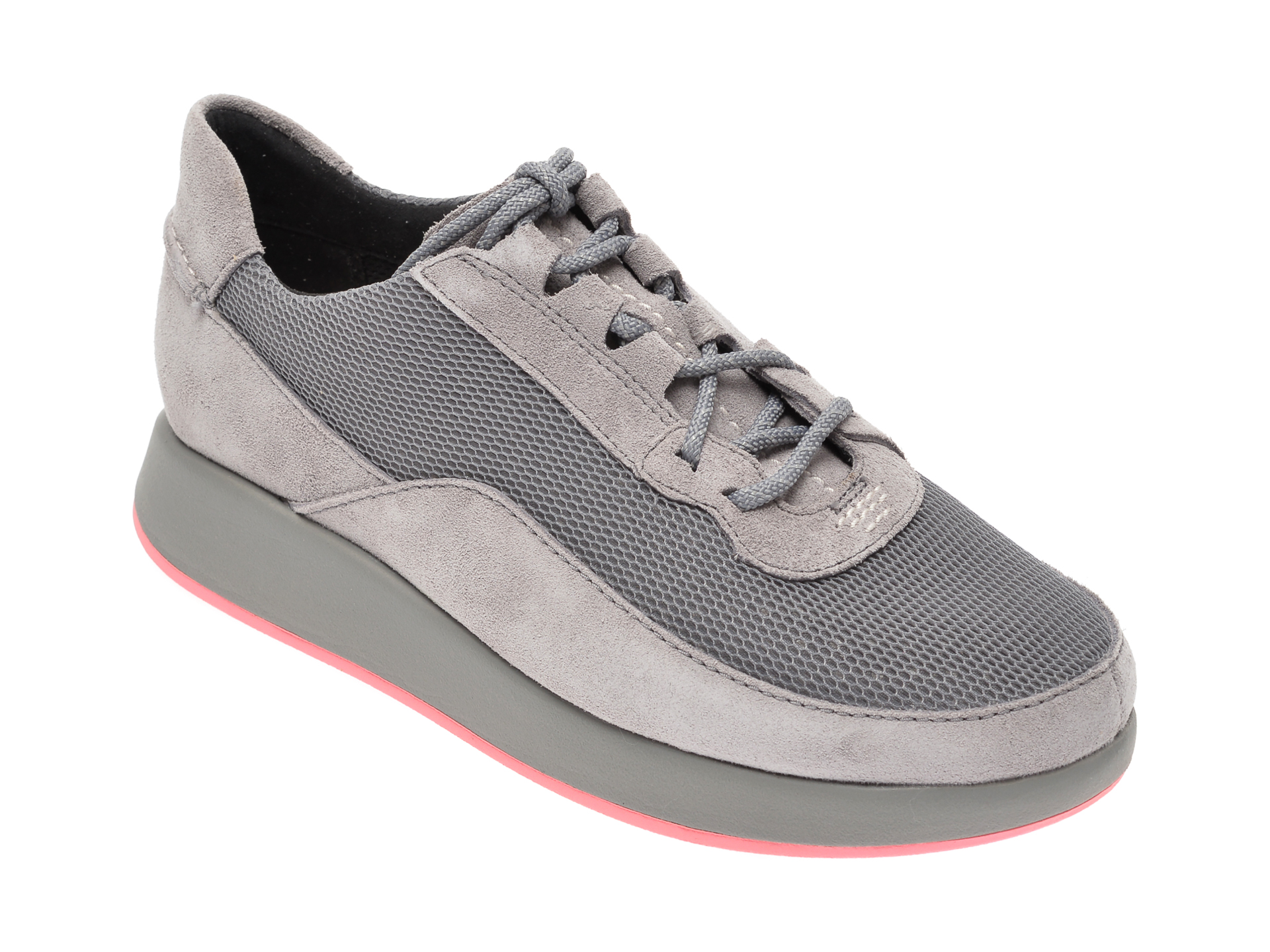 Pantofi sport CLARKS gri, Un Rio Lace, din piele naturala