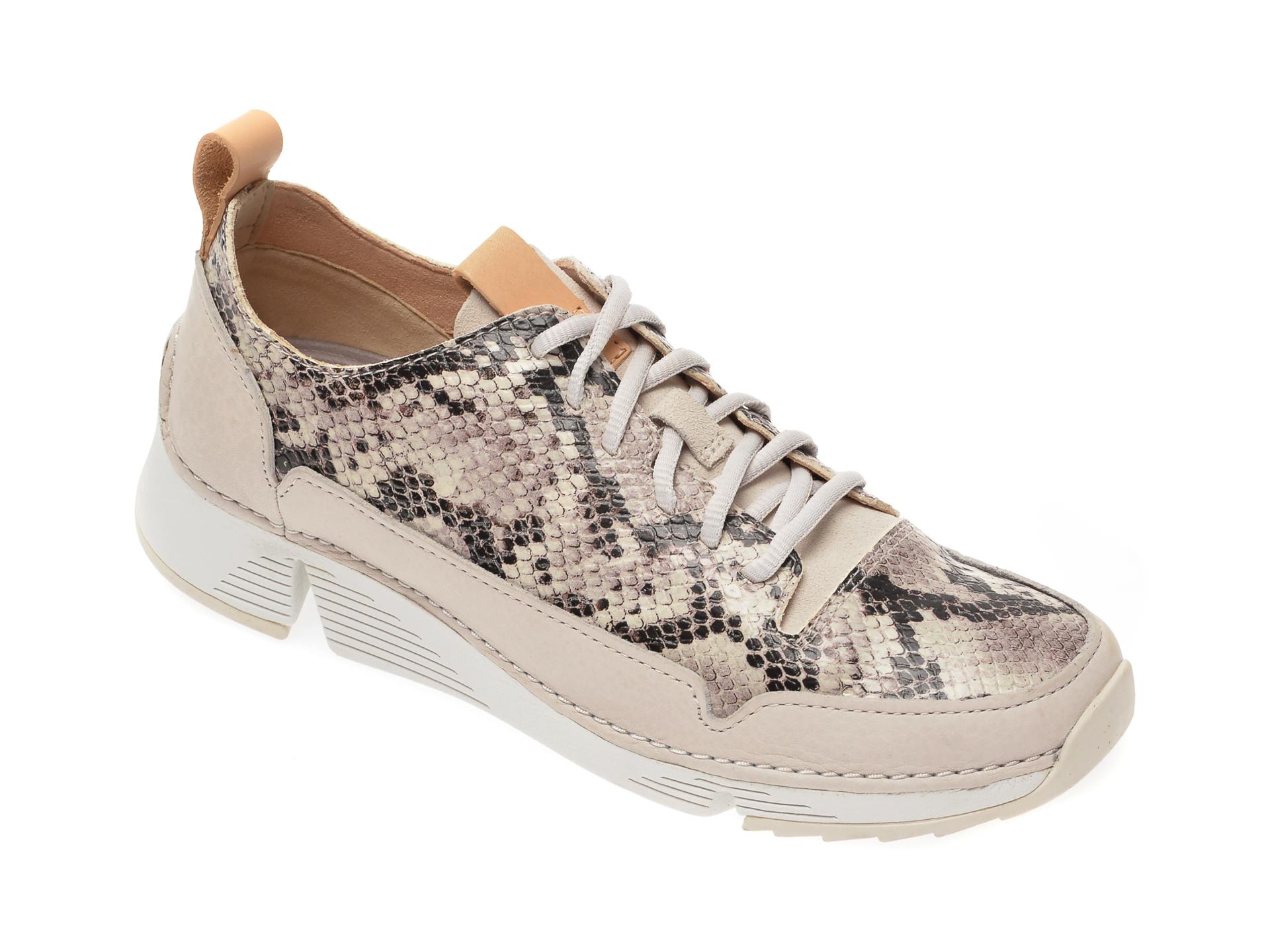Pantofi CLARKS gri, Tri Spark, din piele naturala imagine