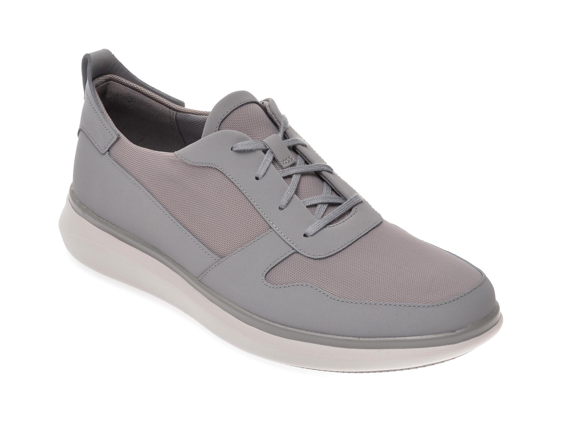 Pantofi CLARKS gri, Un Globe Sport, din material textil imagine