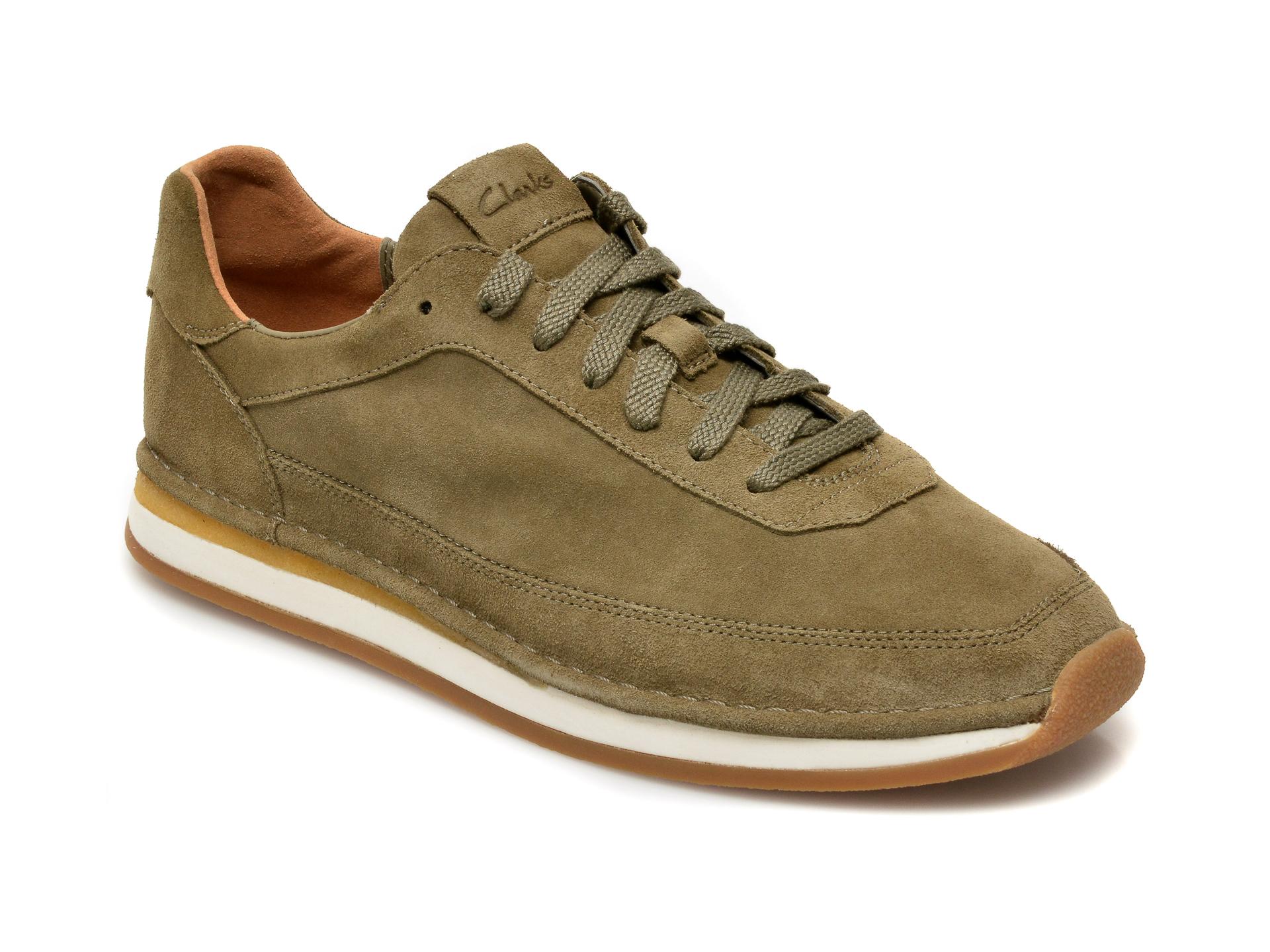 Pantofi CLARKS kaki, Craftrun Lace, din piele intoarsa imagine