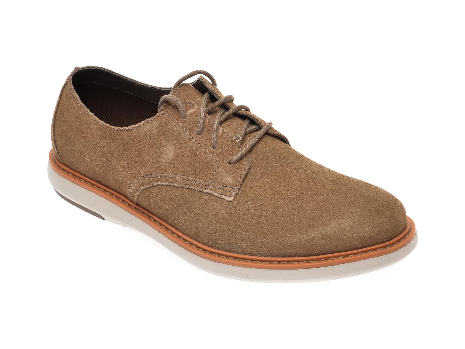 Pantofi CLARKS kaki, Draper Lace, din piele intoarsa imagine