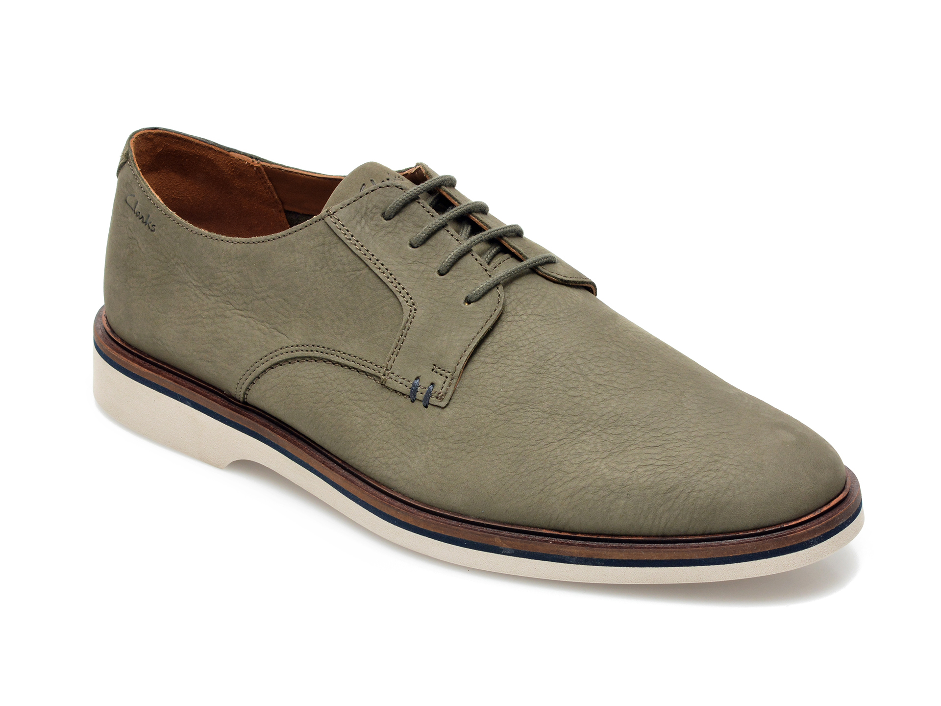 Pantofi CLARKS kaki, Malwood Plain, din nabuc imagine otter.ro 2021