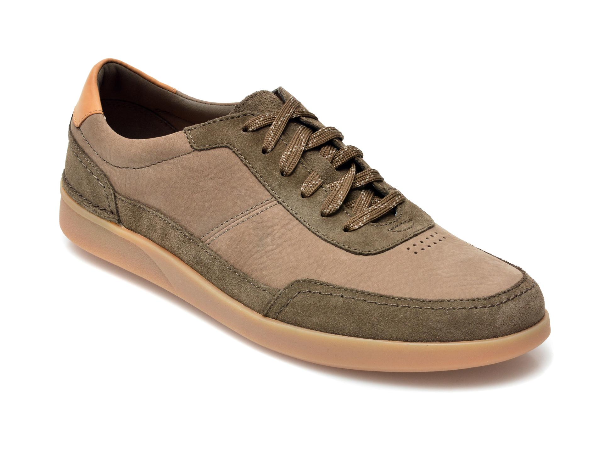 Pantofi CLARKS kaki, Oakland Run, din nabuc imagine otter.ro 2021