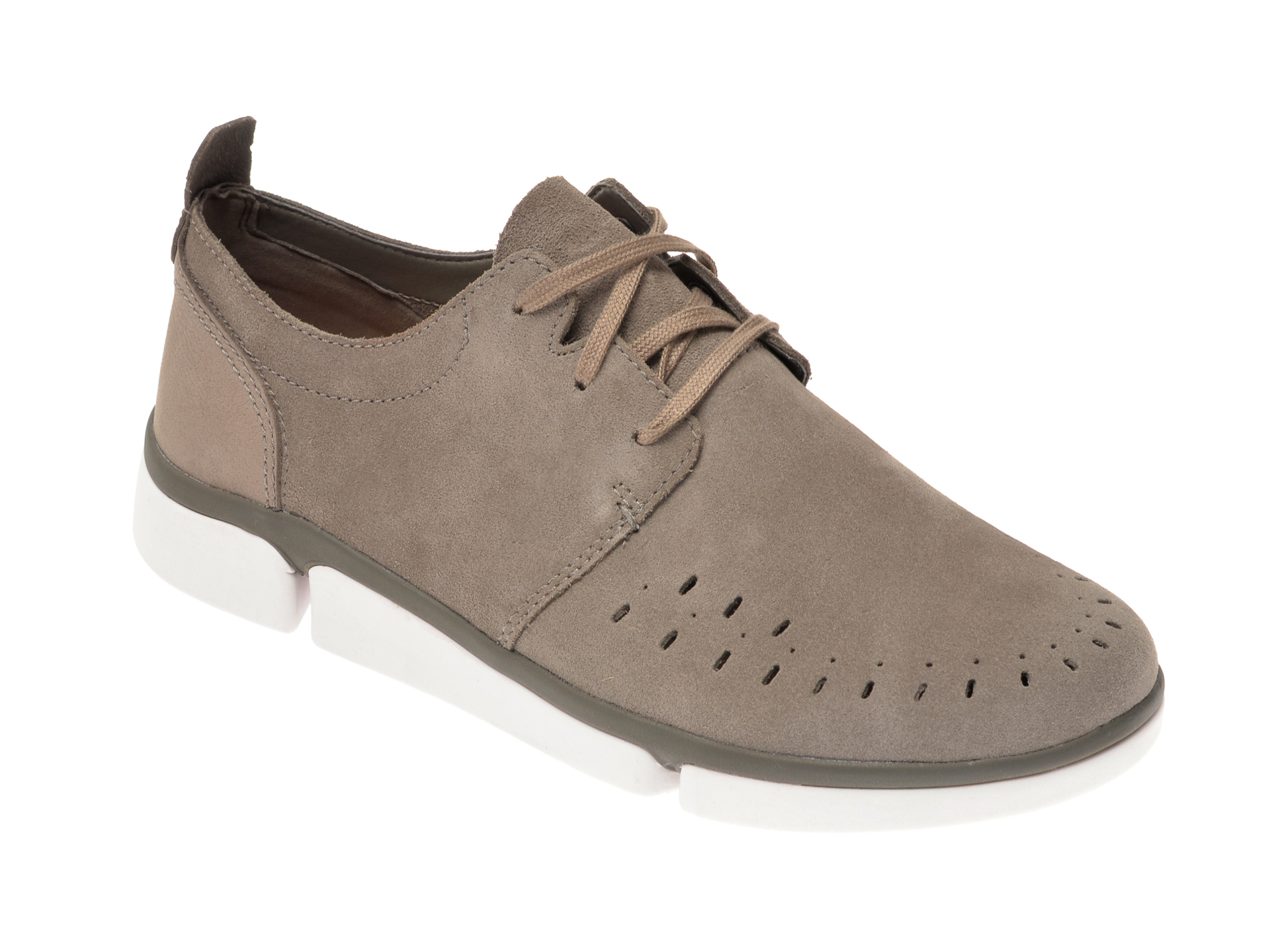 Pantofi CLARKS kaki, Tri Verve Boss, din piele intoarsa imagine
