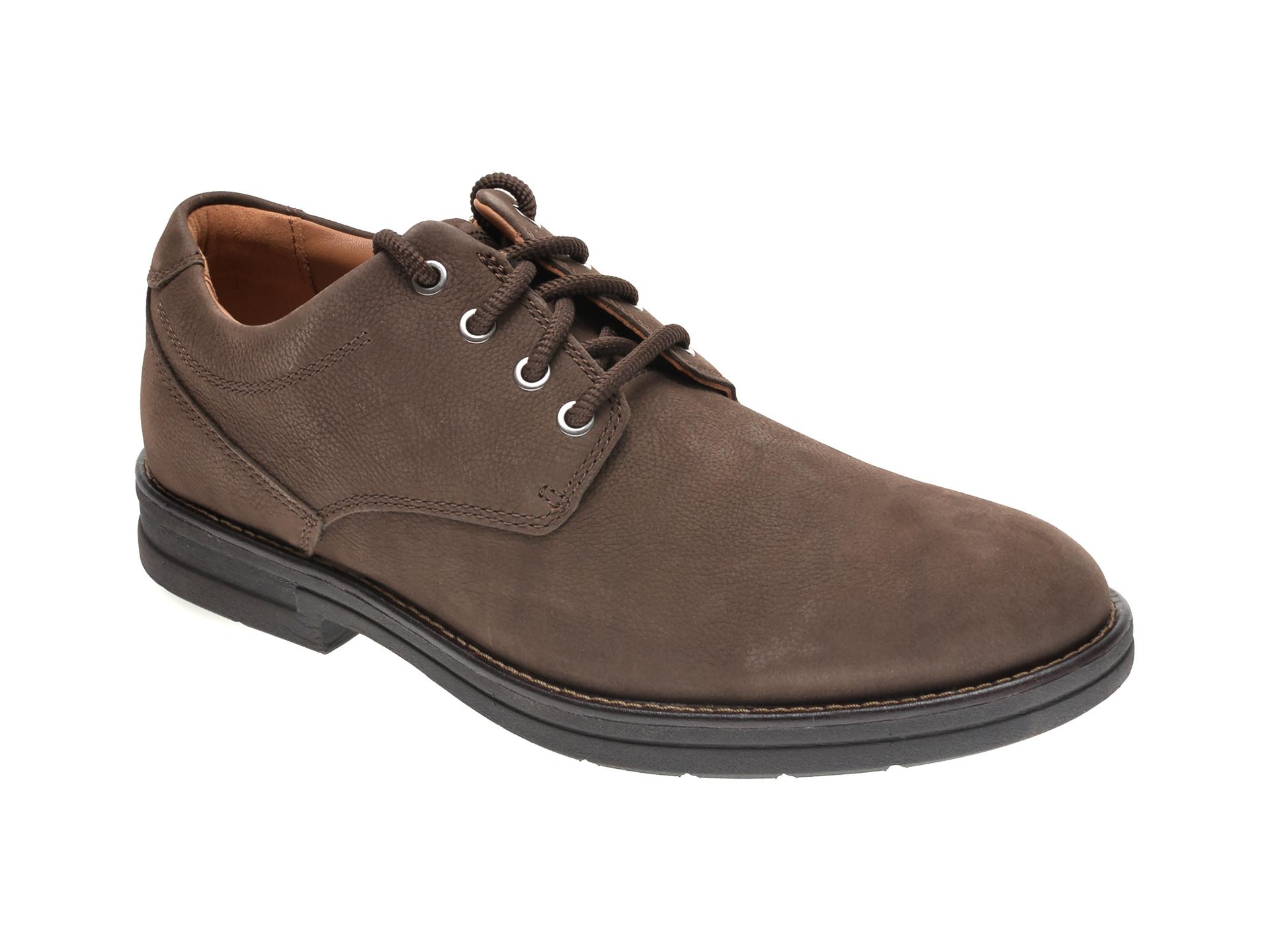 Pantofi CLARKS maro, BANNING PLAIN, din nabuc imagine